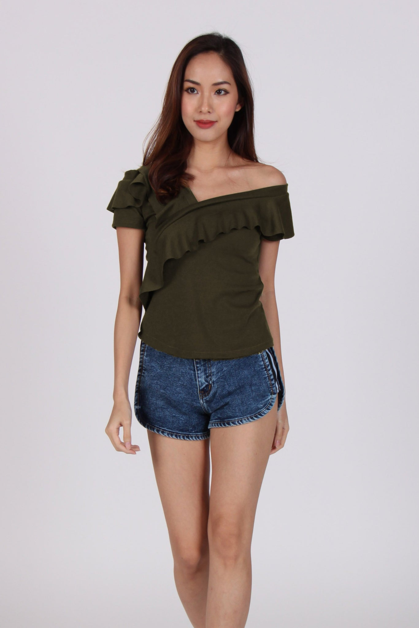 Single Side Off-Shoulder Top in Military Green