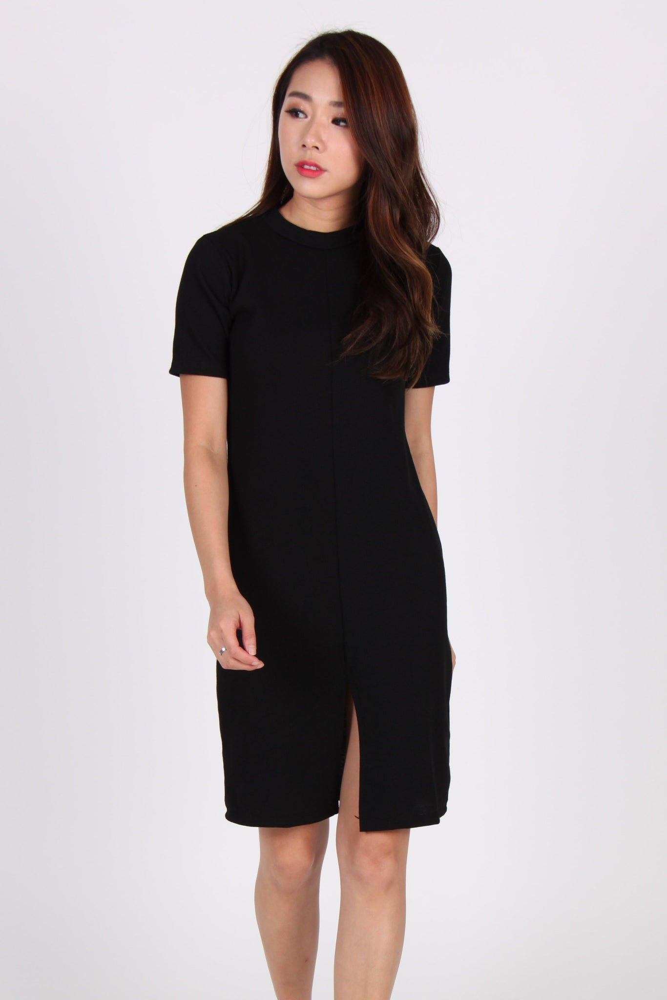 Sleeve Front Slit Midi Dress In Black