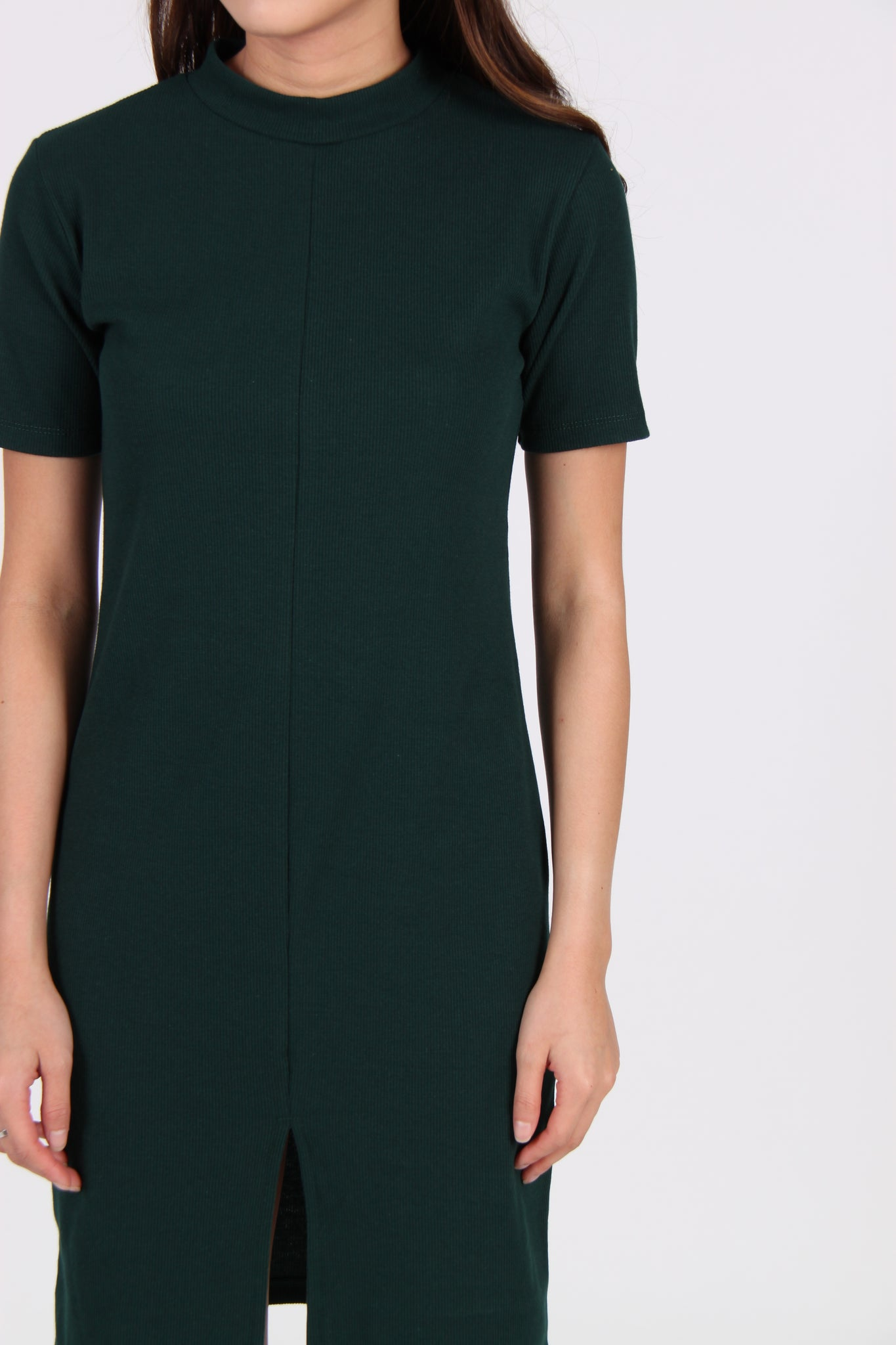 Sleeve Front Slit Midi Dress In Green