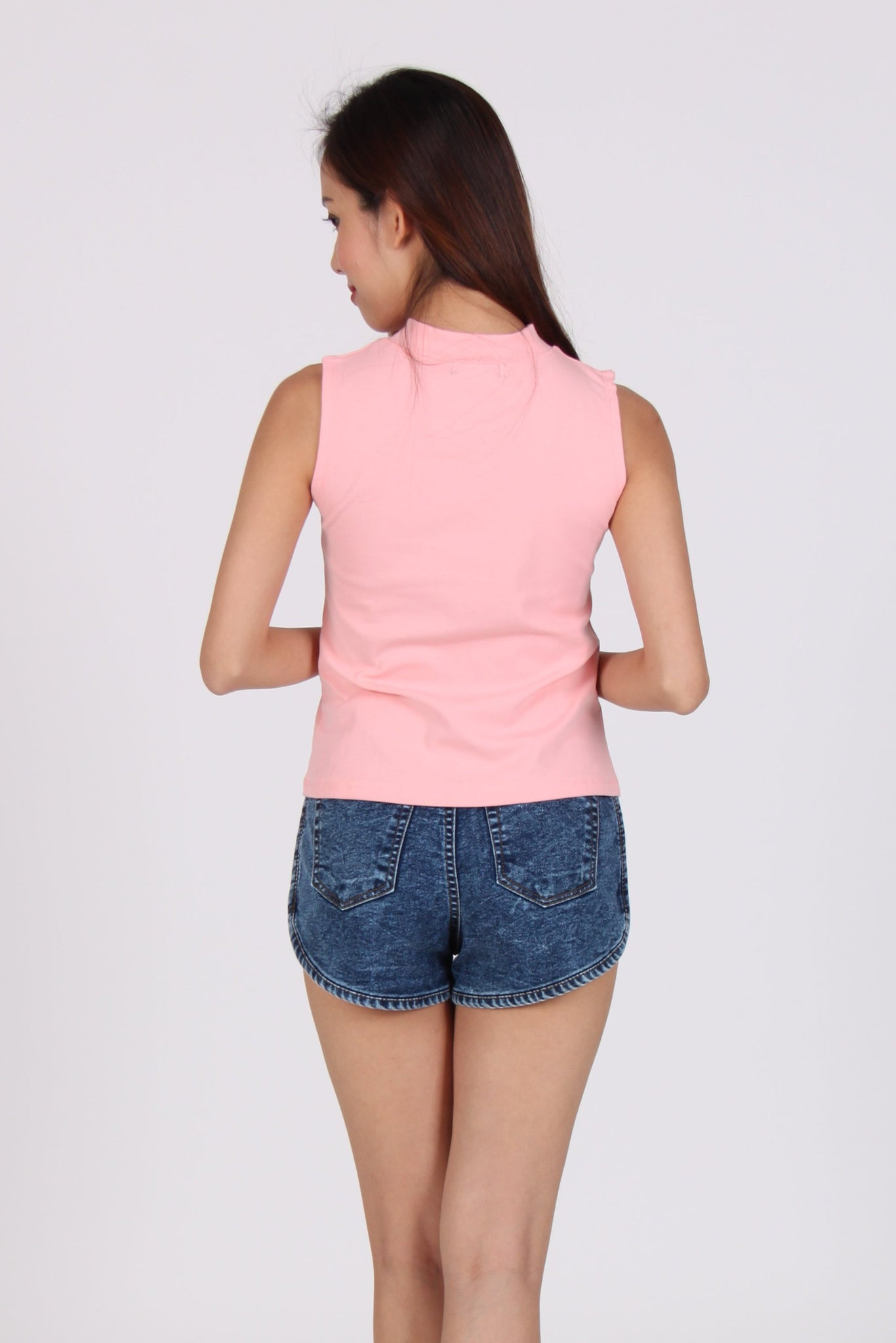 Basic Premium Cotton Top In Peach