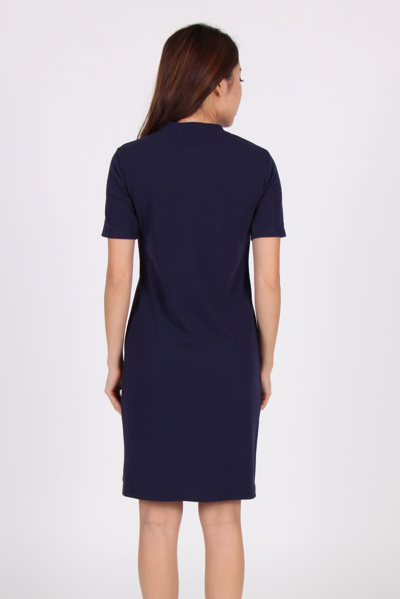 Sleeve Front Slit Midi Dress In Navy Blue