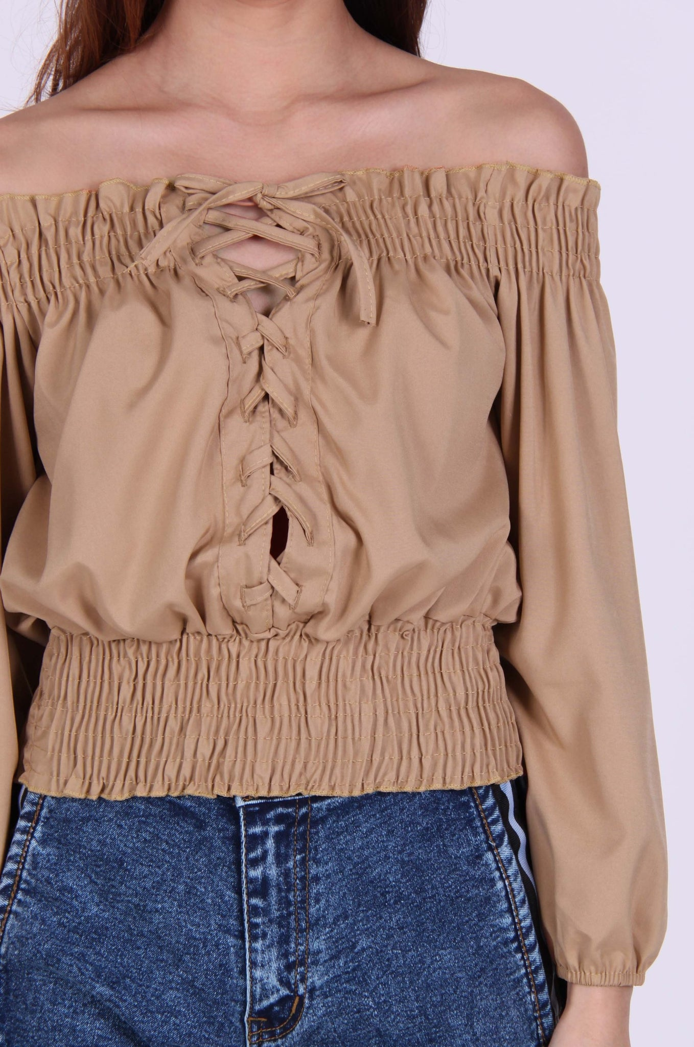 Front Lace Up Smocked Off Shoulder Top in Coco-Beige