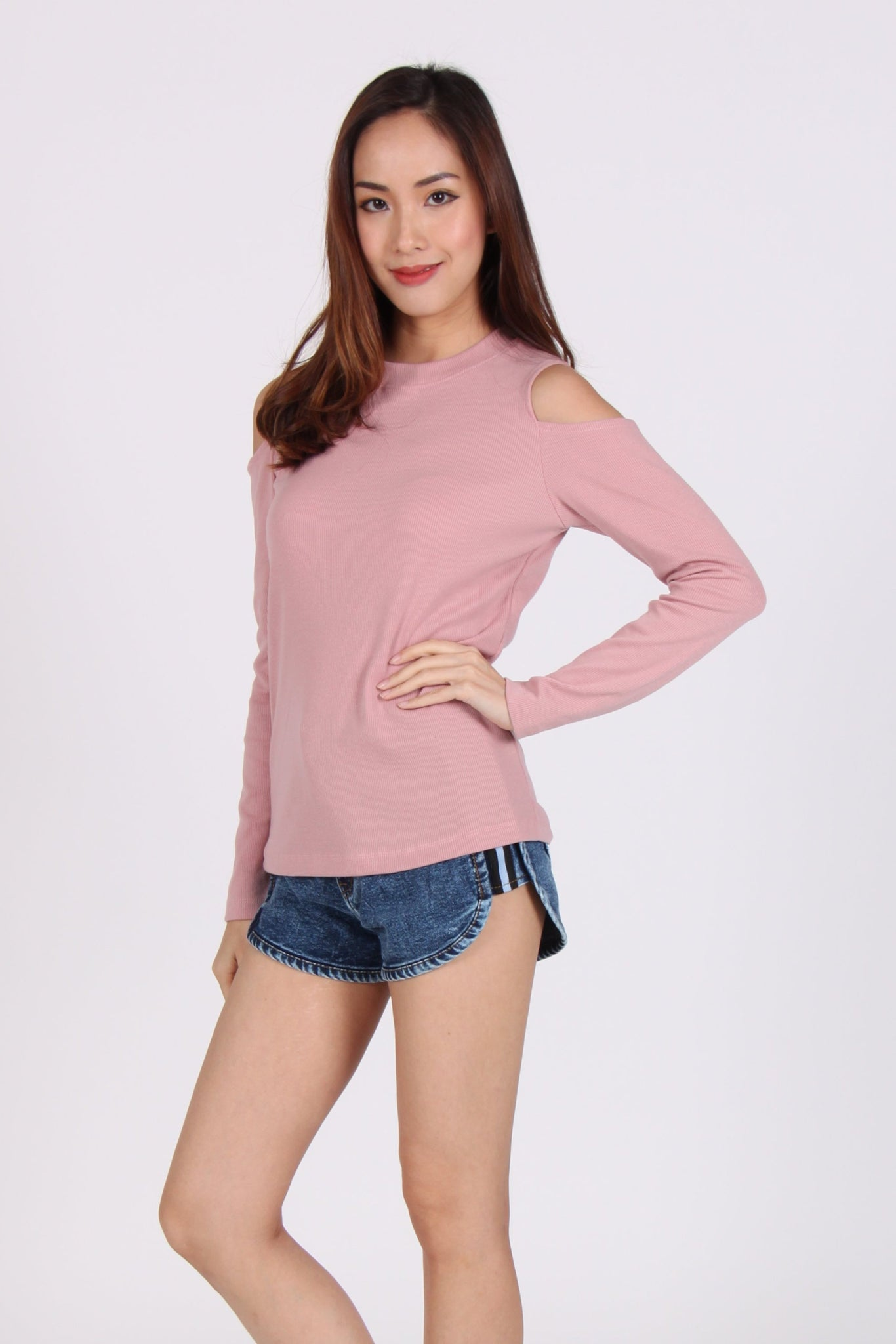 Comfy Cold Shoulder Top in Pink