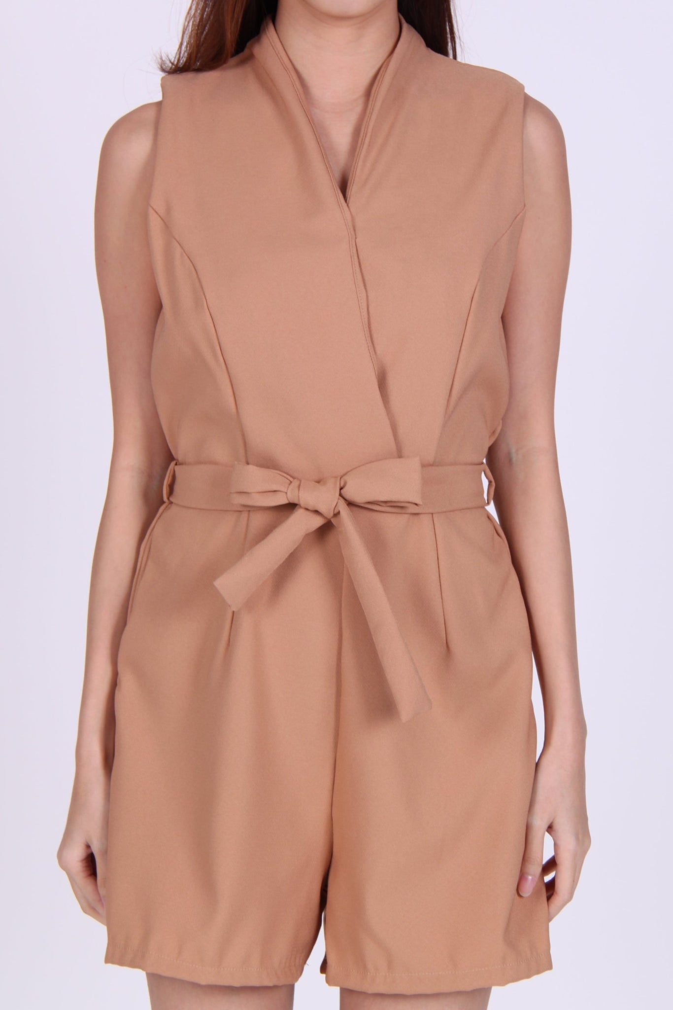 Overlap Sleeveless Romper in Beige