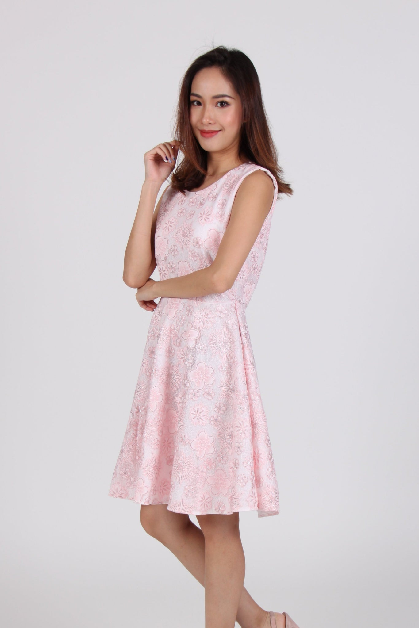 Glitter Floral Lace Skater Dress in Light Pink