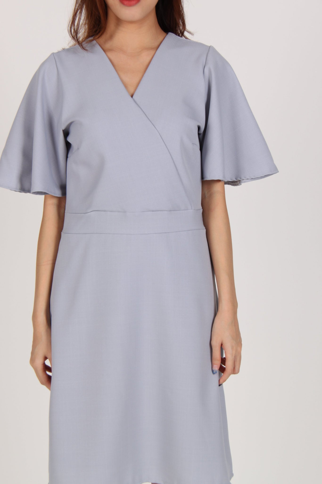 Bell Sleeves Wrap Front Dress in Light Blue