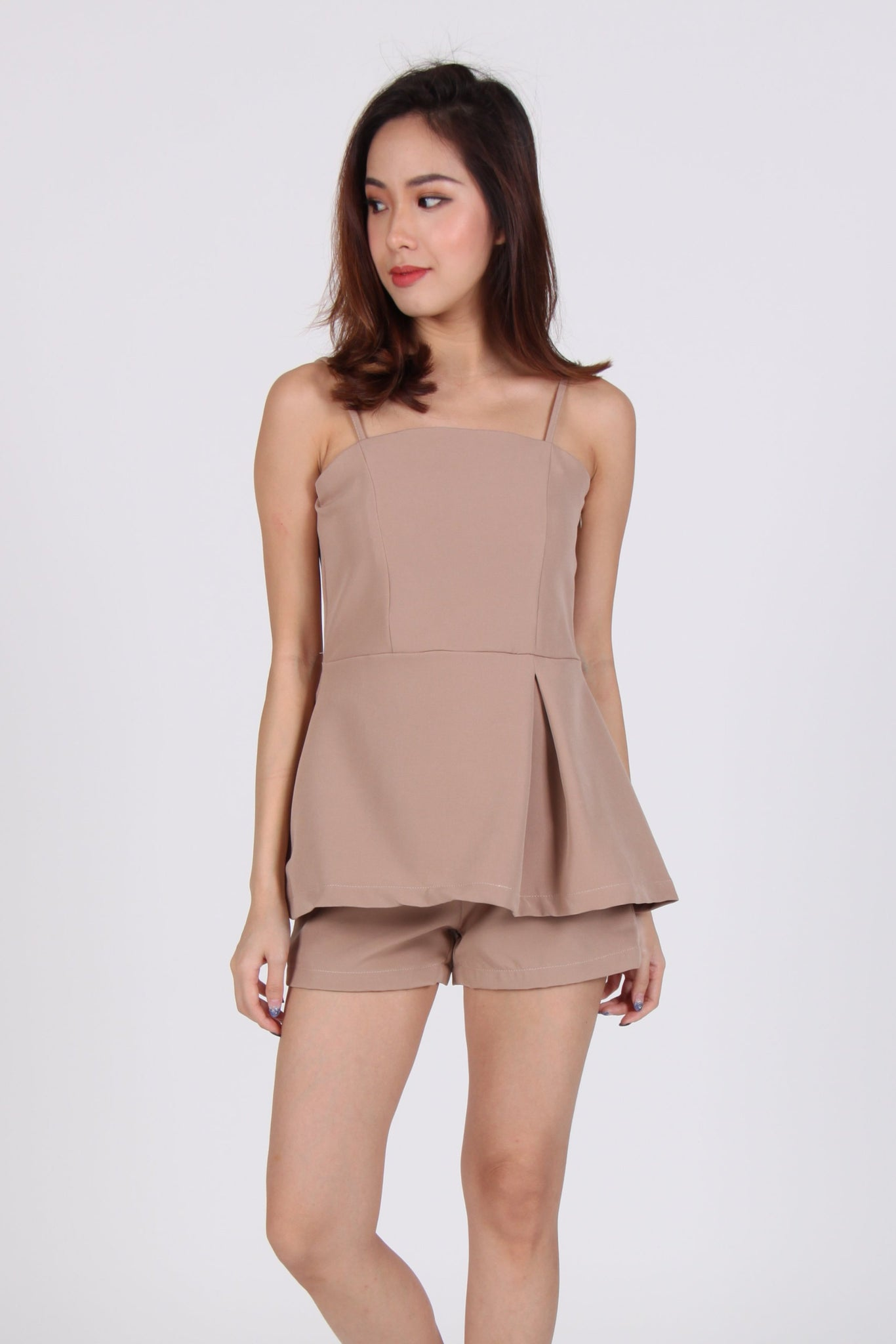 2 Piece Side Pleat Spag Top with Shorts in Beige