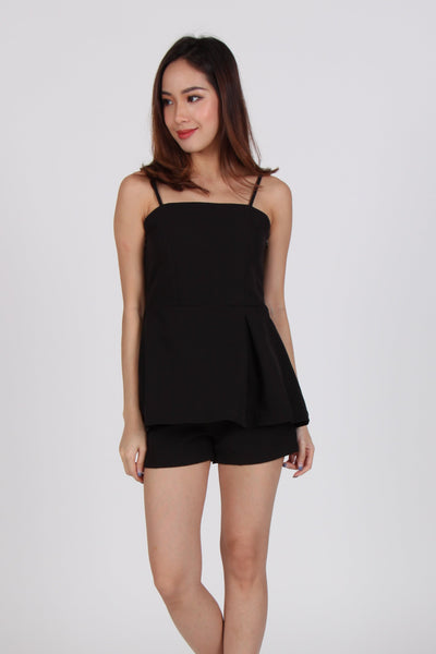 2 Piece Side Pleat Spag Top with Shorts in Black