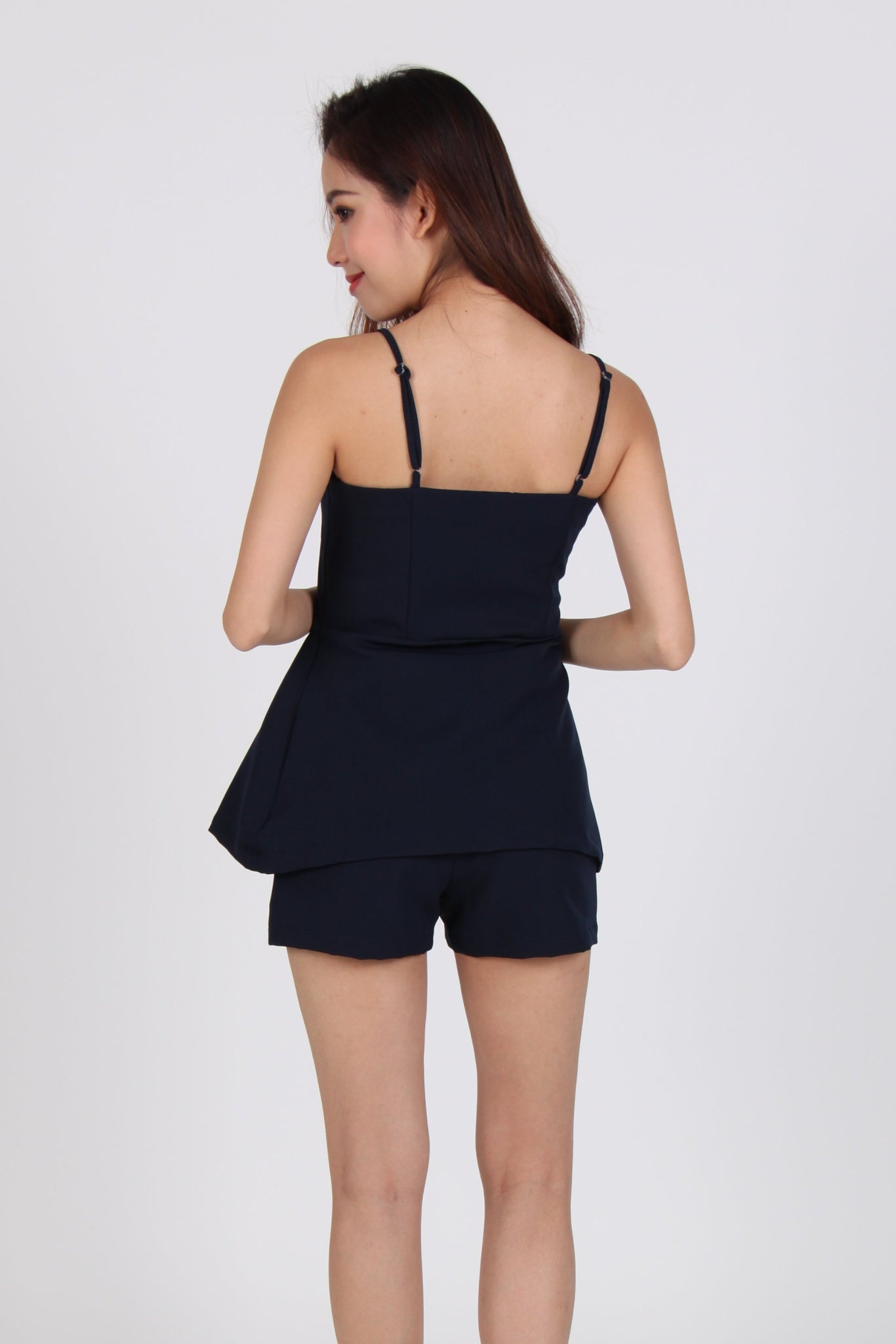 2 Piece Side Pleat Spag Top with Shorts in Navy Blue