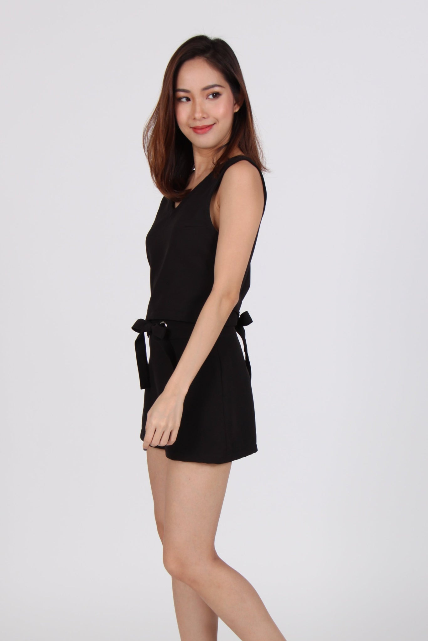 2 Piece Back Tie Top with Shorts in Black
