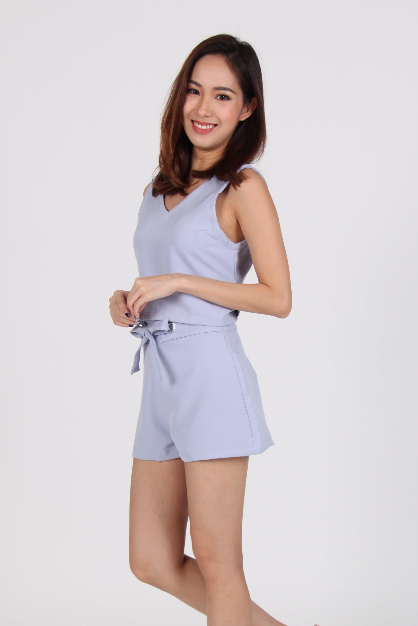 2 Piece Back Tie Top with Shorts in Blue