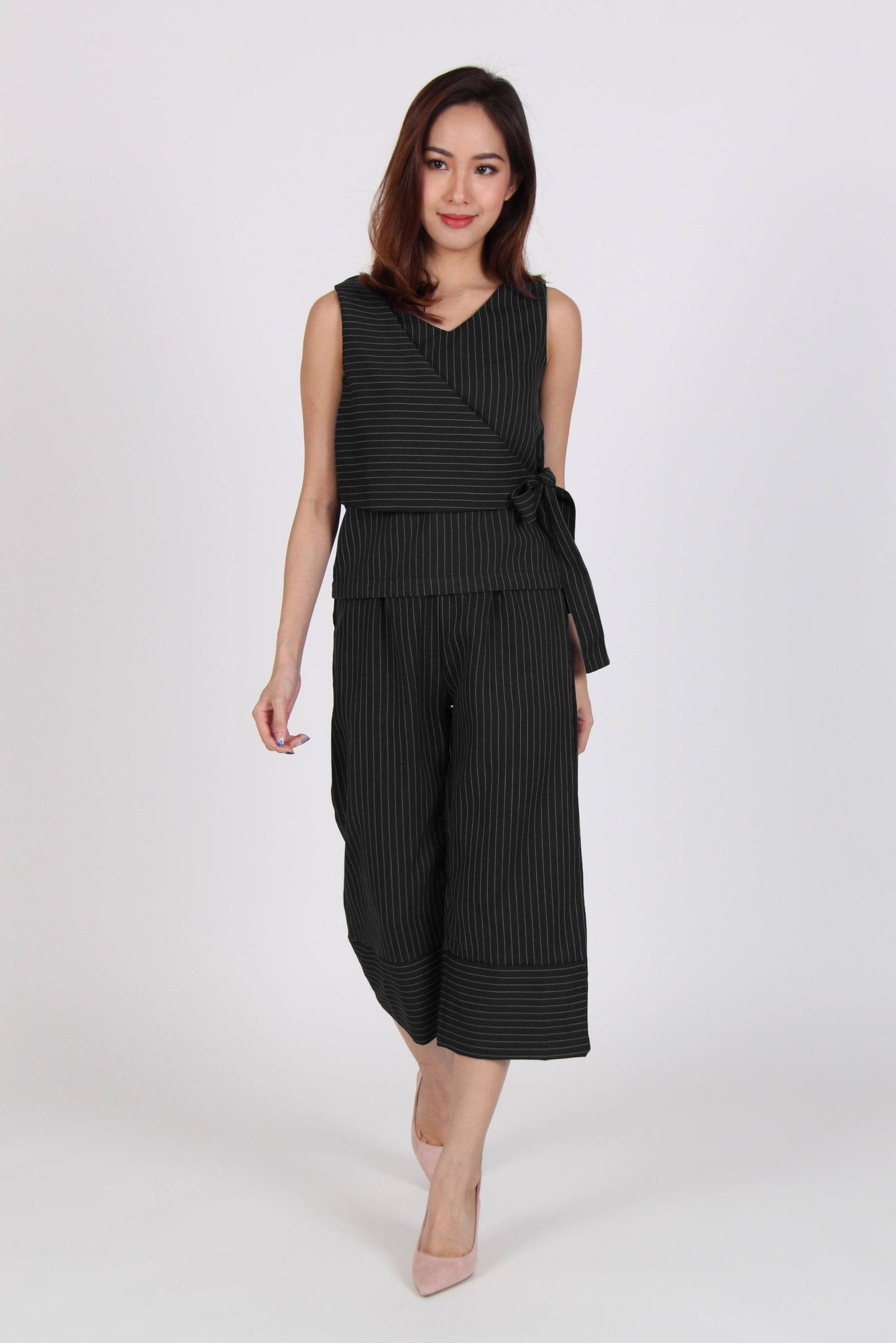 2 Piece Pinstripe Side Overlap Top with Culottes in Black