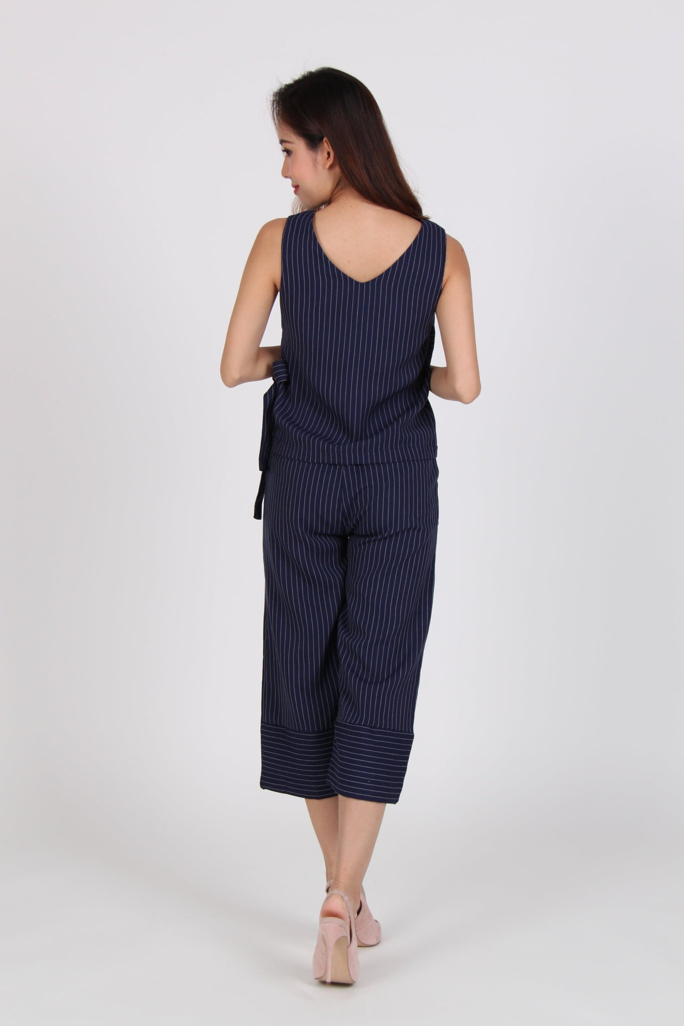 2 Piece Pinstripe Side Overlap Top with Culottes in Navy Blue