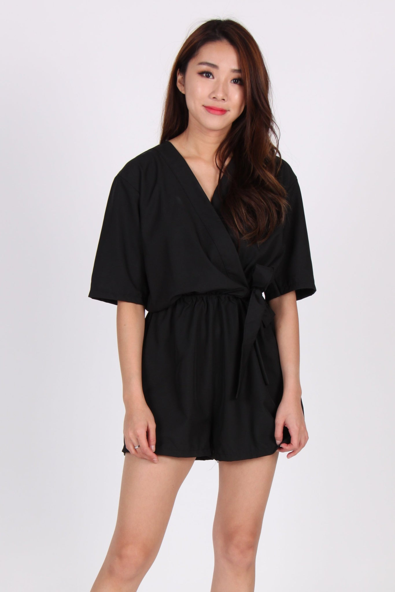 Sleeve Wrap Romper in Black