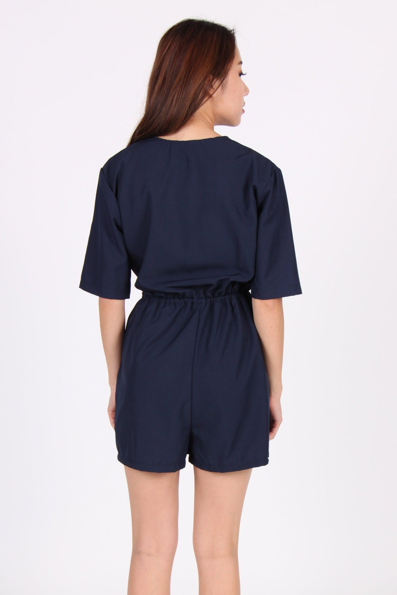 Sleeve Wrap Romper in Navy Blue