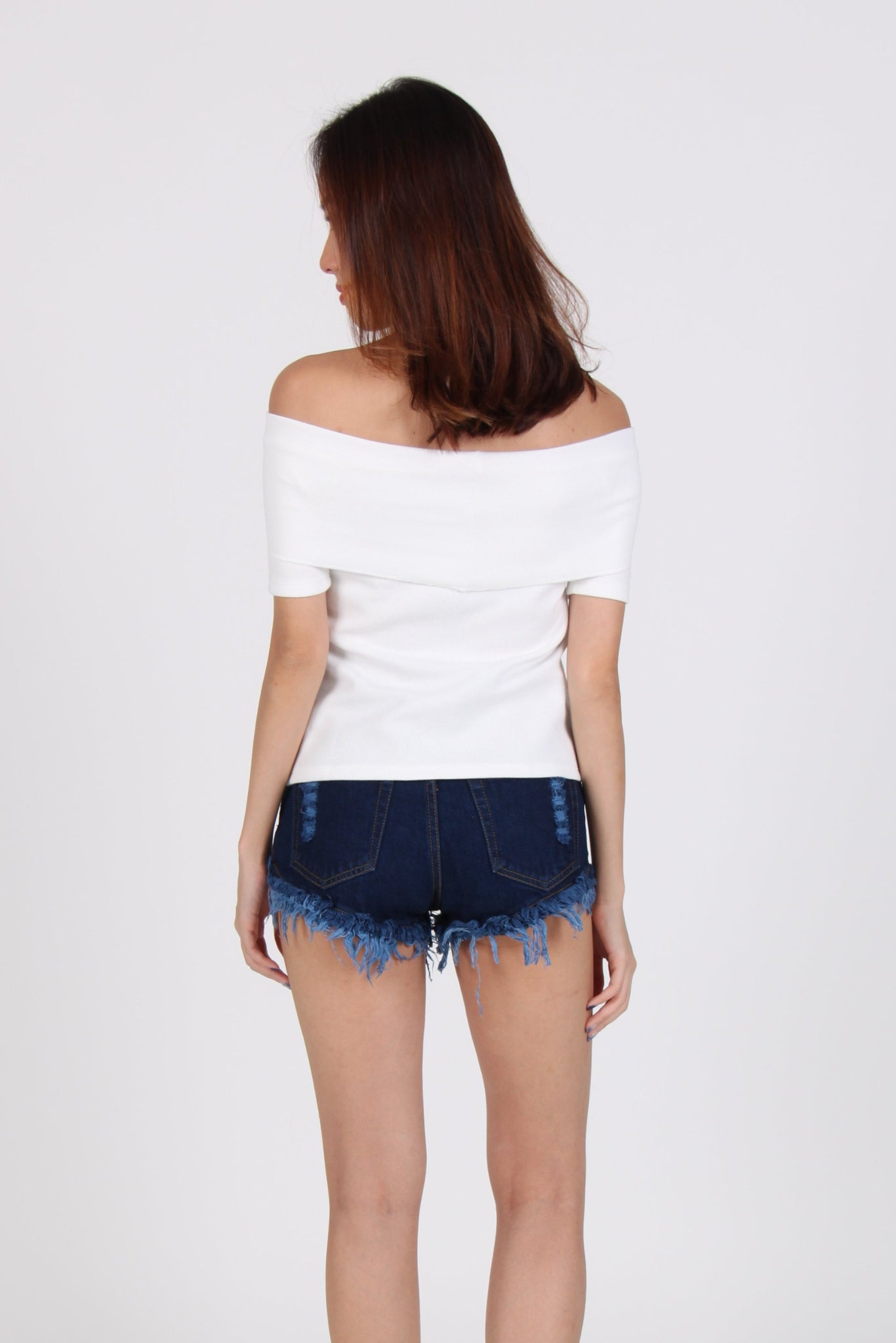 Basic Ribber Off Shoulder Top in White