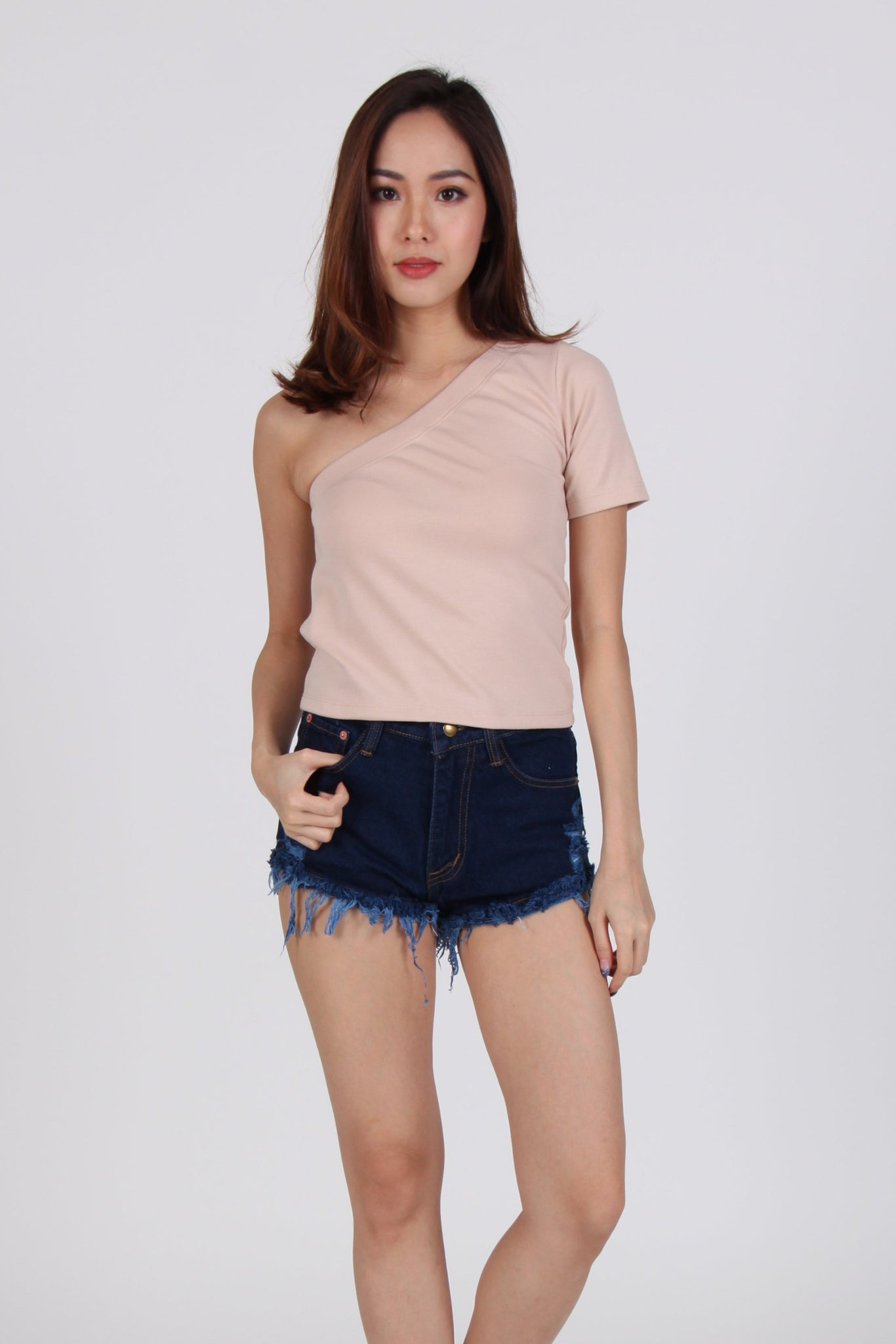 Basic Sleeve Toga Top In Beige