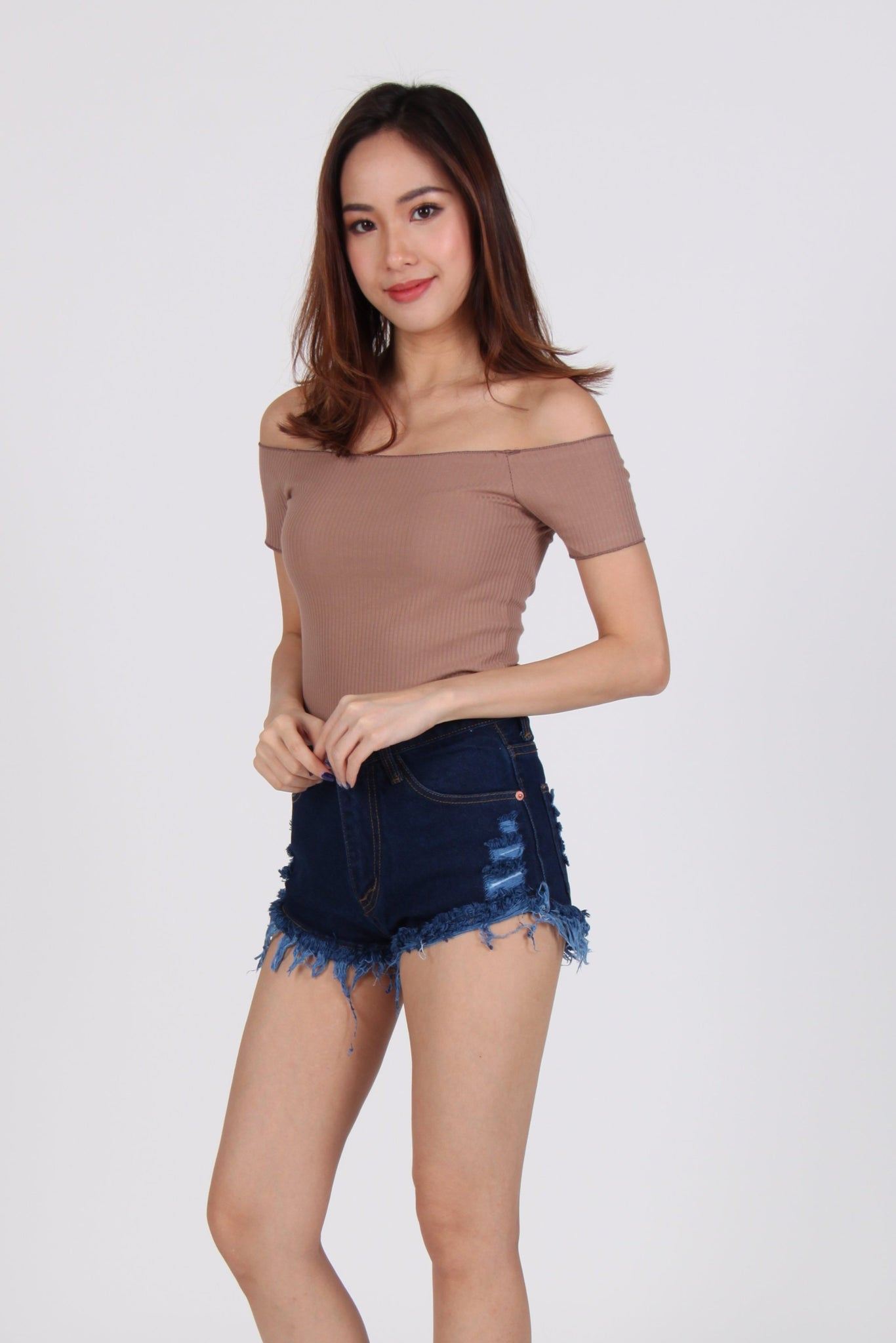 Textured Off-Shoulder Cropped Top in Brown