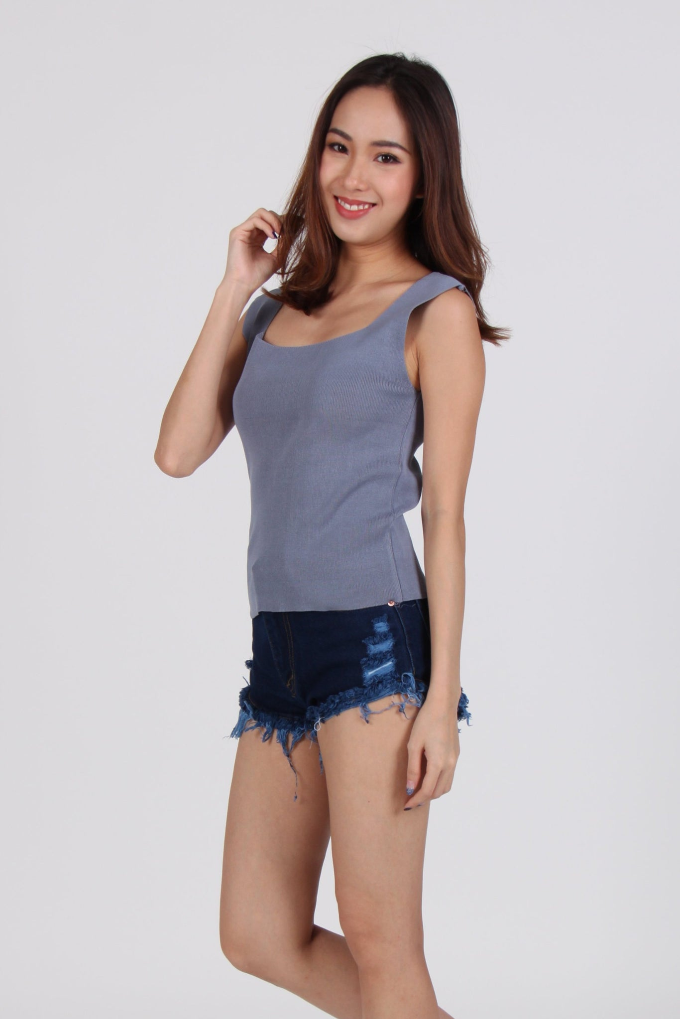 Knit Square Neck Sleeveless Top in Blue-Grey