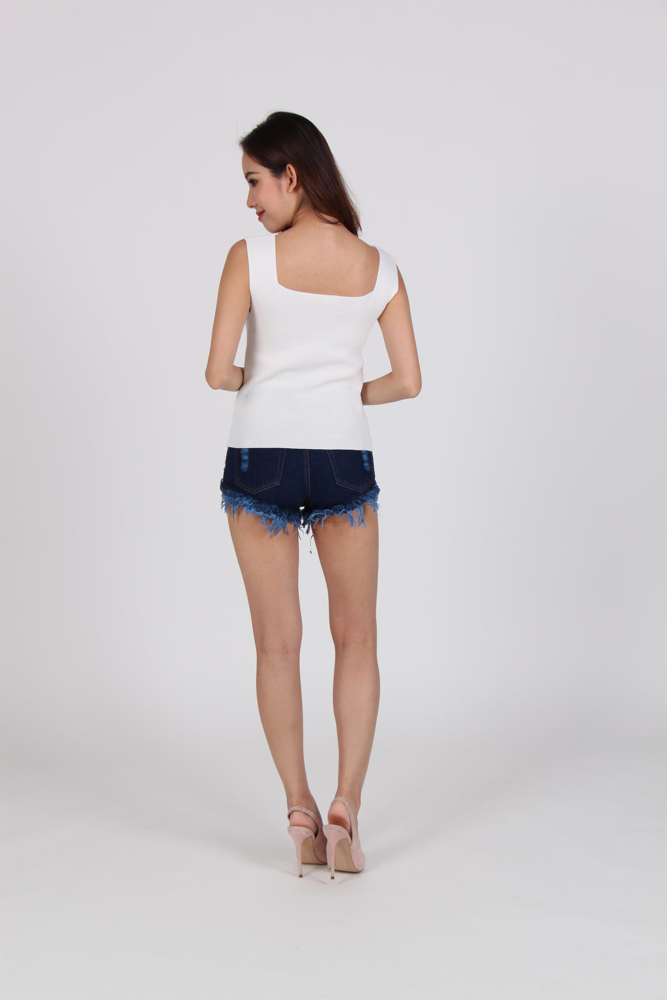Knit Square Neck Sleeveless Top in White
