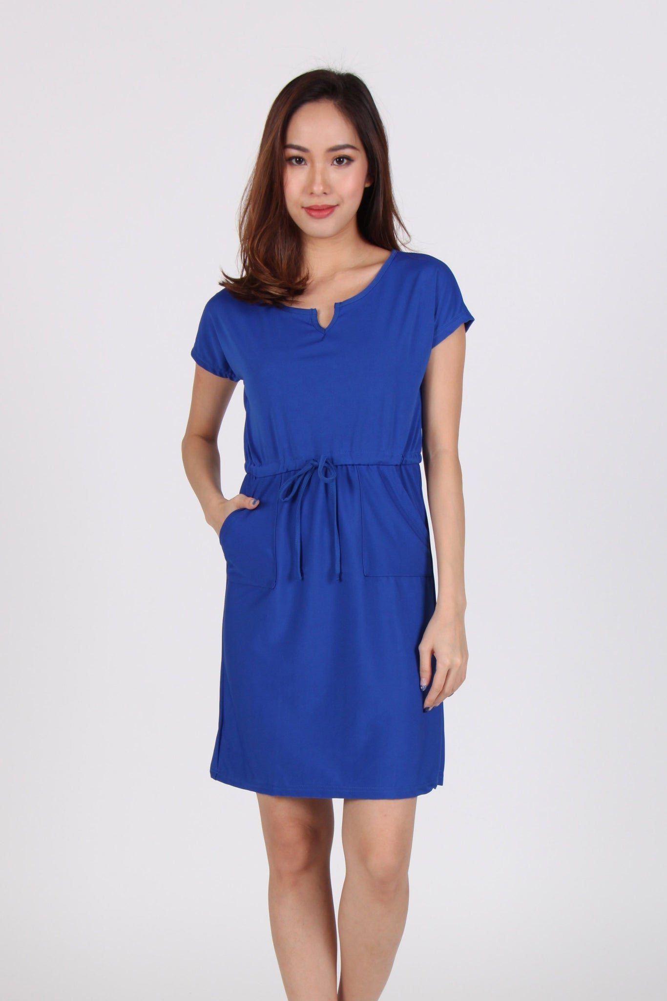 Sleeve Front Tie Shift Dress in Electric Blue