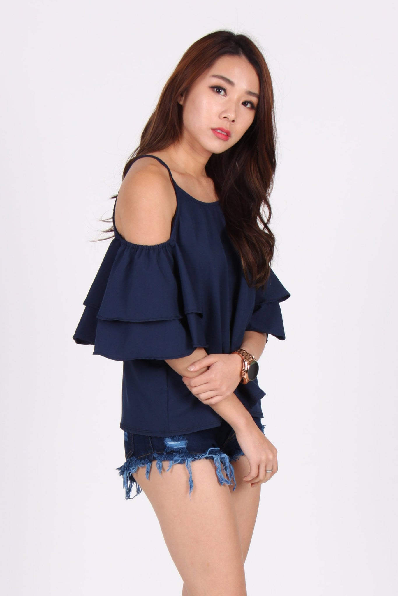 266fe42ed32fa3 Cold Shoulder Double Layer Sleeve Top in Navy Blue – The Dress Room