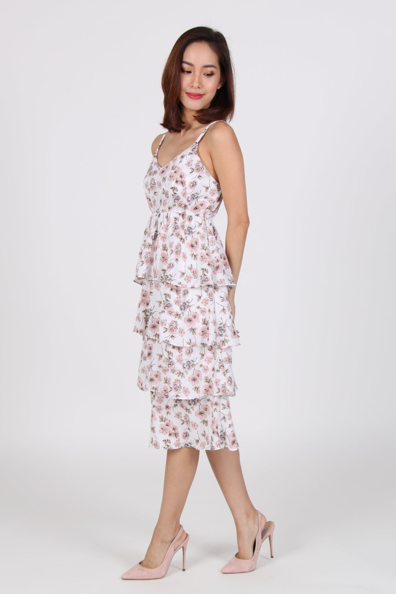 Floral Spag Layered Midi Dress in Pink