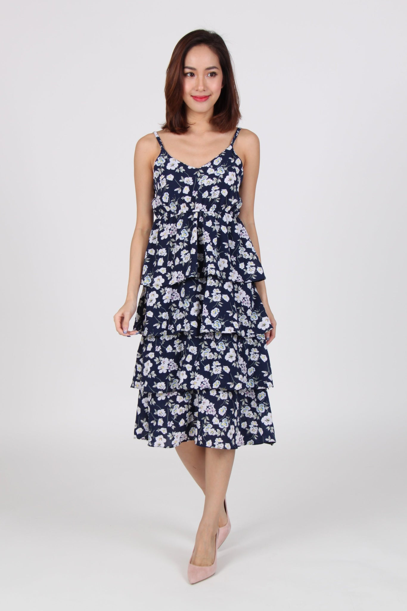 Floral Spag Layered Midi Dress in Navy Blue