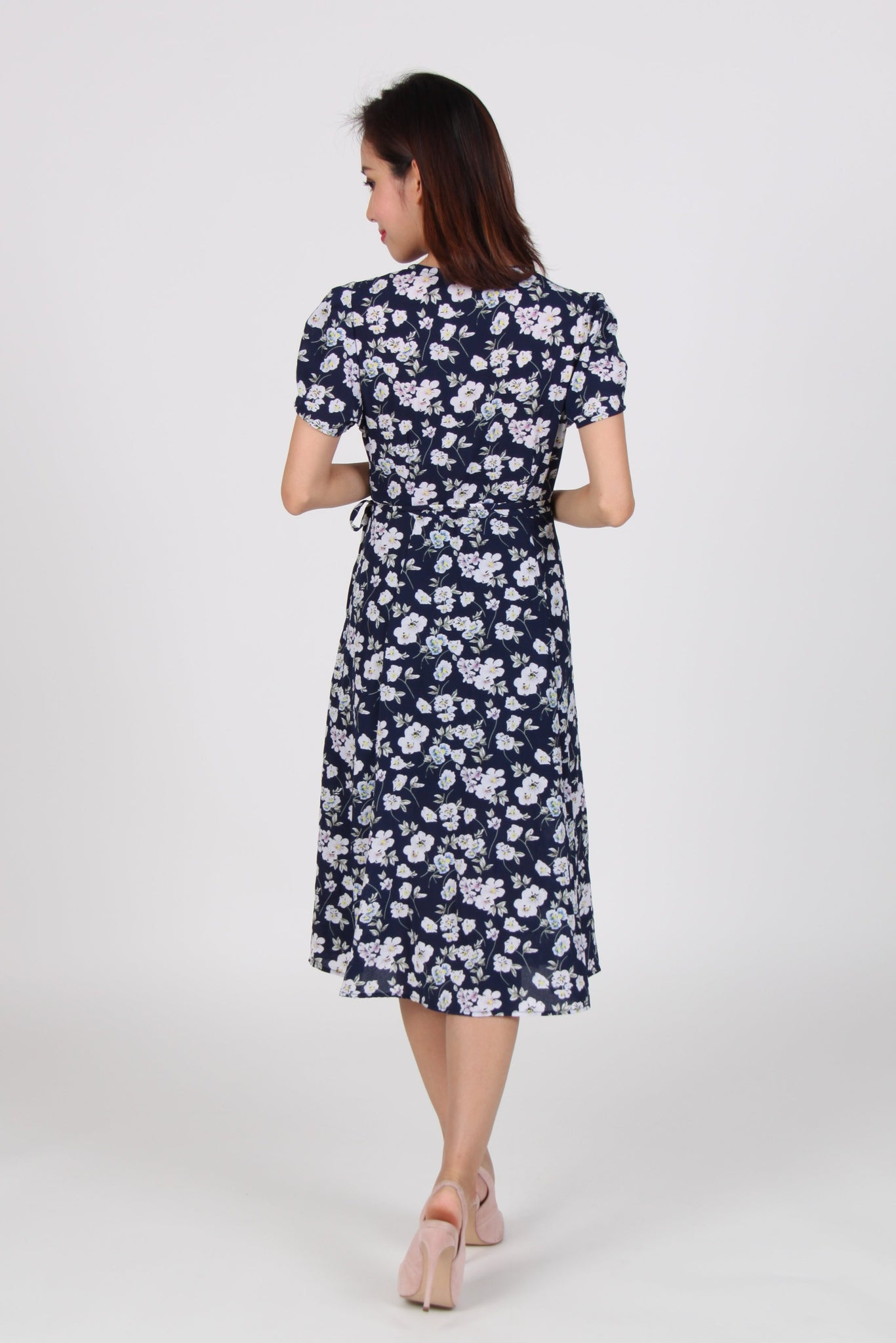 Wrap Floral Midi Dress in Navy Blue
