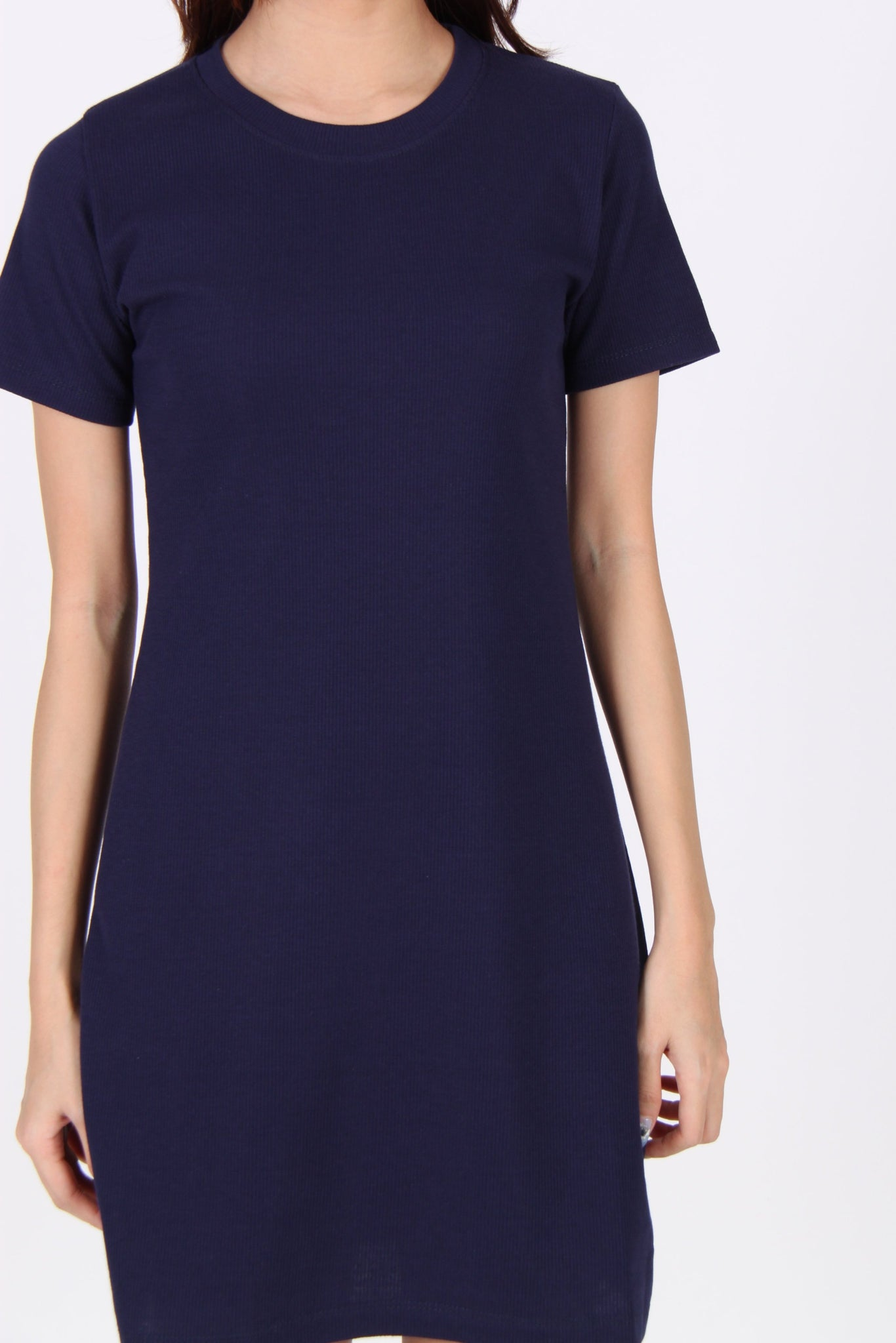 Basic Everyday Comfy Tee Dress in Navy Blue