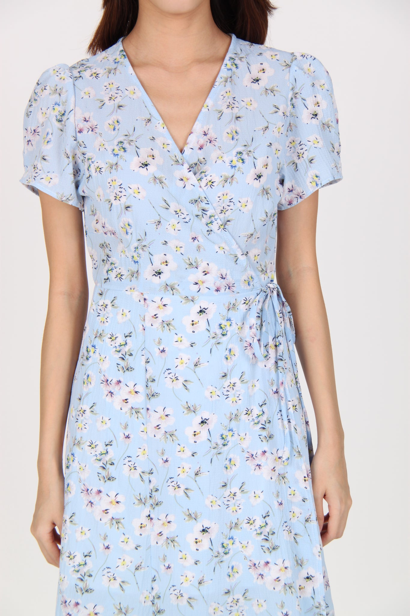 Wrap Floral Midi Dress in Light Blue