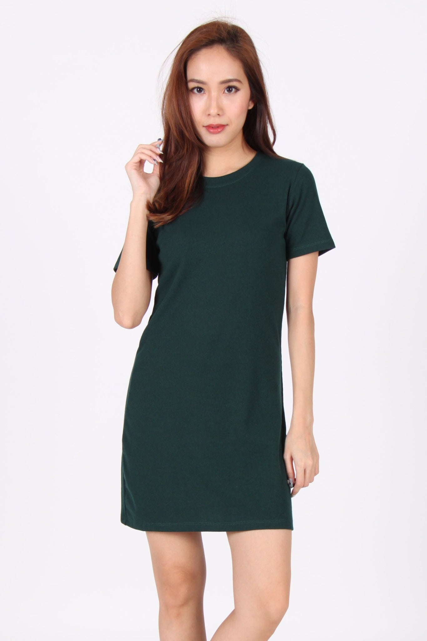 Basic Everyday Comfy Tee Dress in Dark Green
