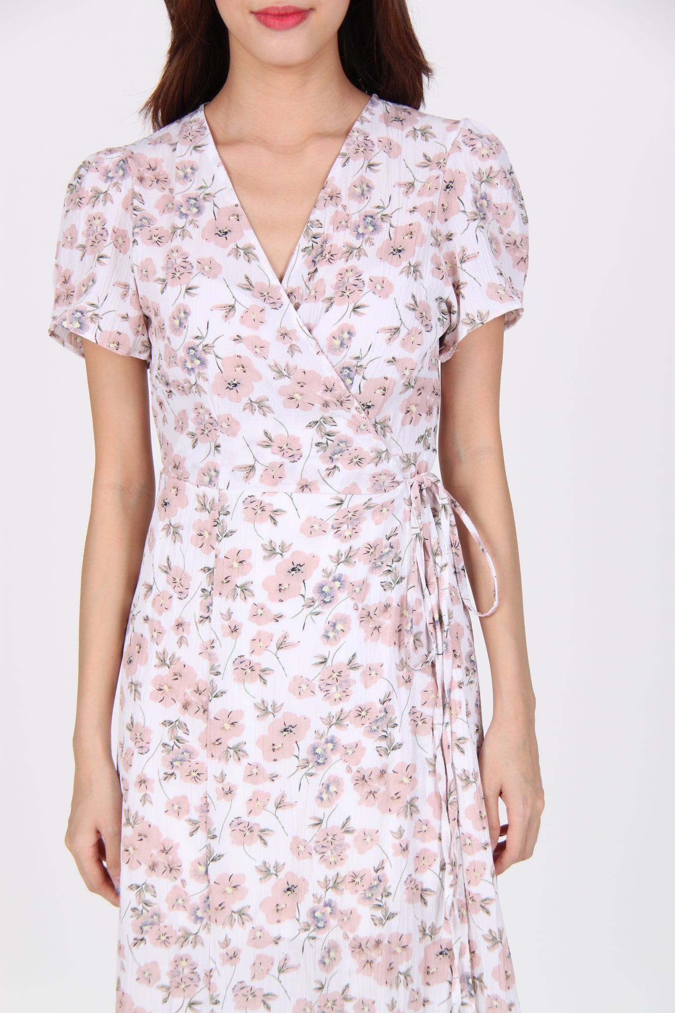 Wrap Floral Midi Dress in Light Pink
