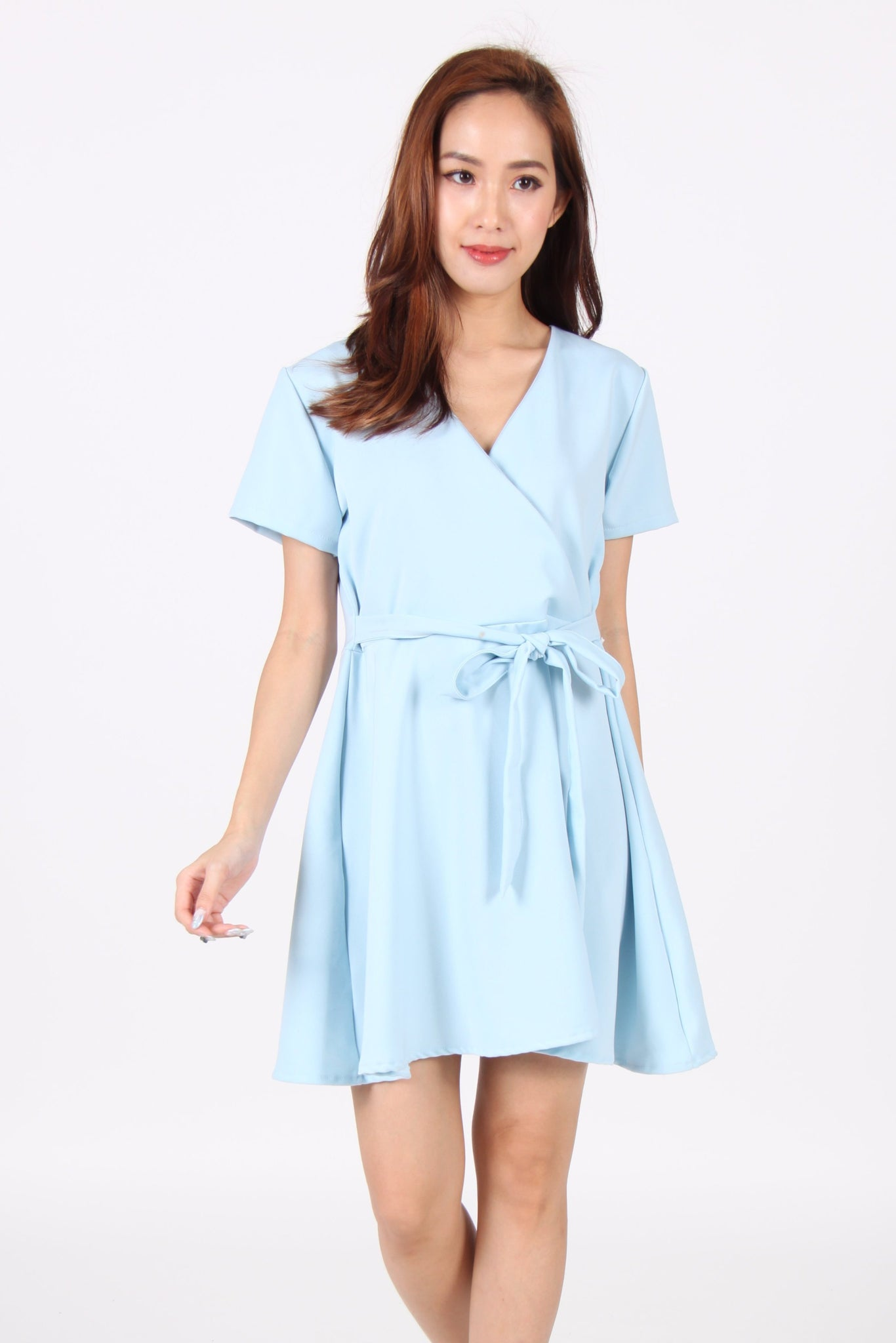 Sleeve Wrap Skater Dress in Light Blue