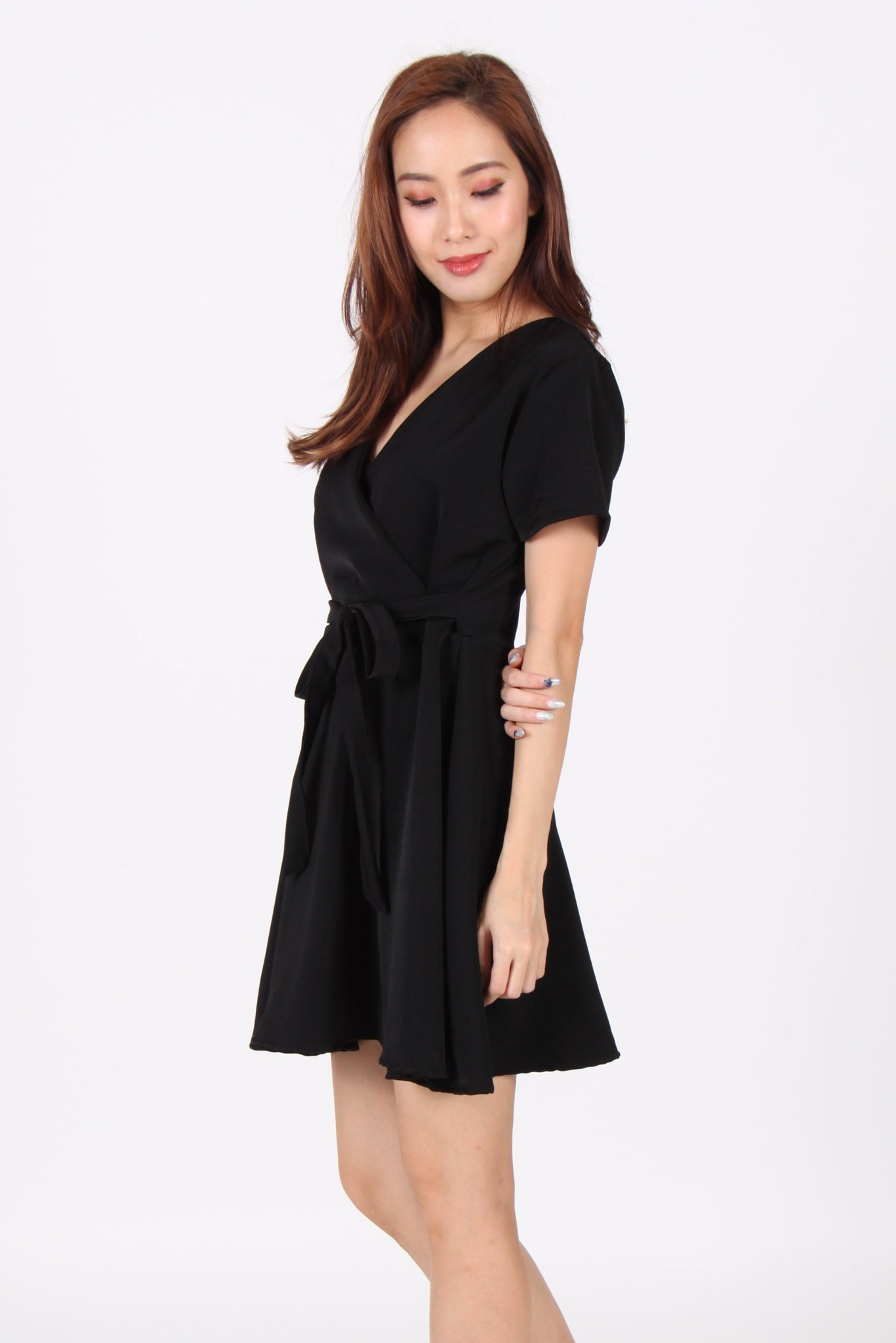 Sleeve Wrap Skater Dress in Black