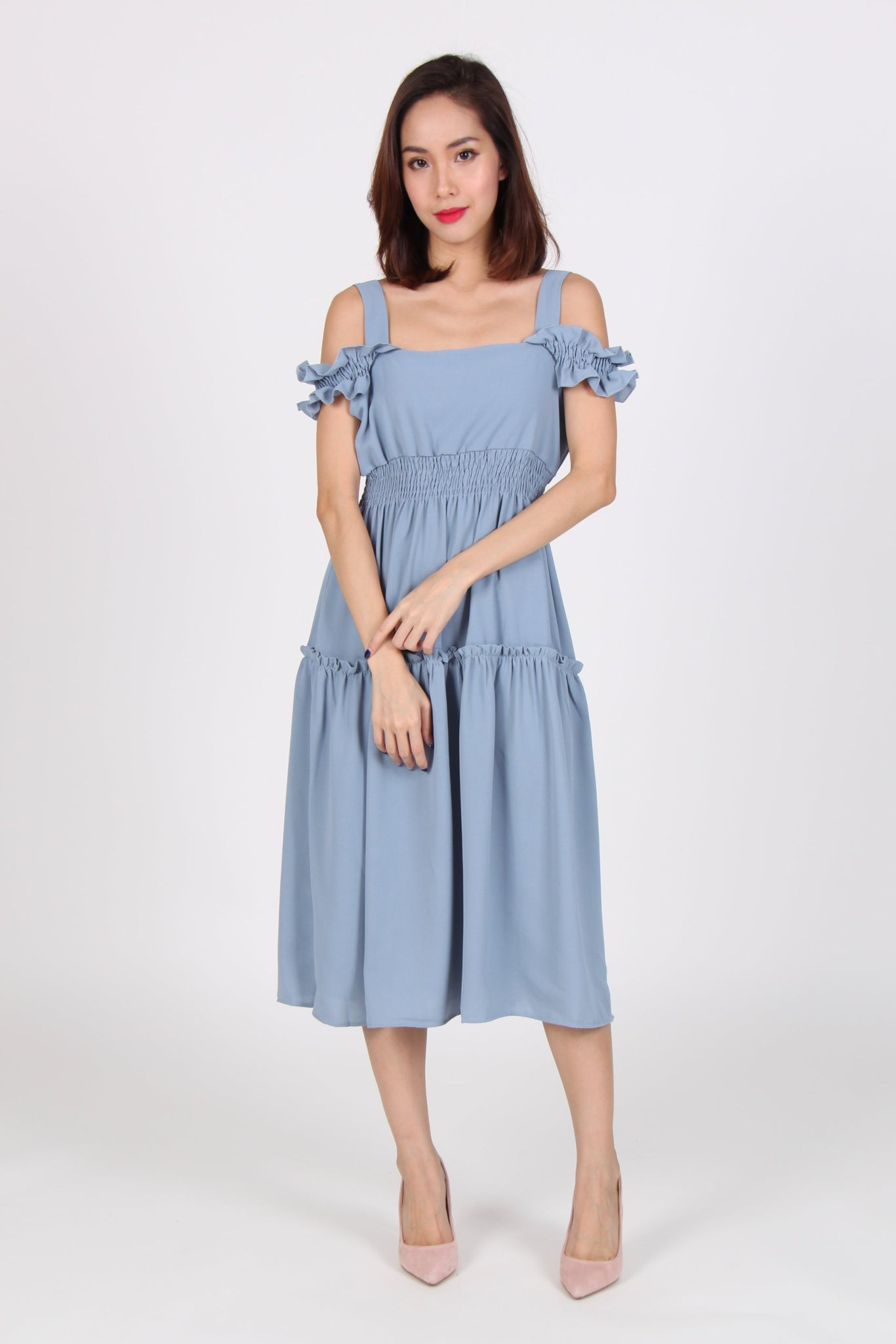 Cold Shoulder Ruffles Gypsy Dress in Blue