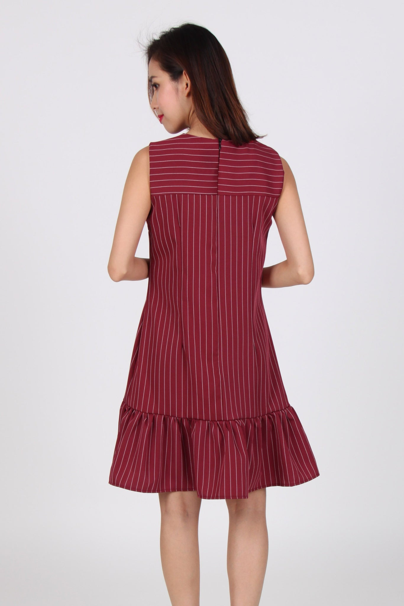 Pinstripes Sleeveless Drop Waist Dress in Maroon