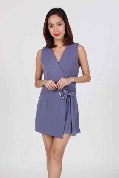 O Ring Overlap V Neck Sleeveless Romper in Blue-Grey