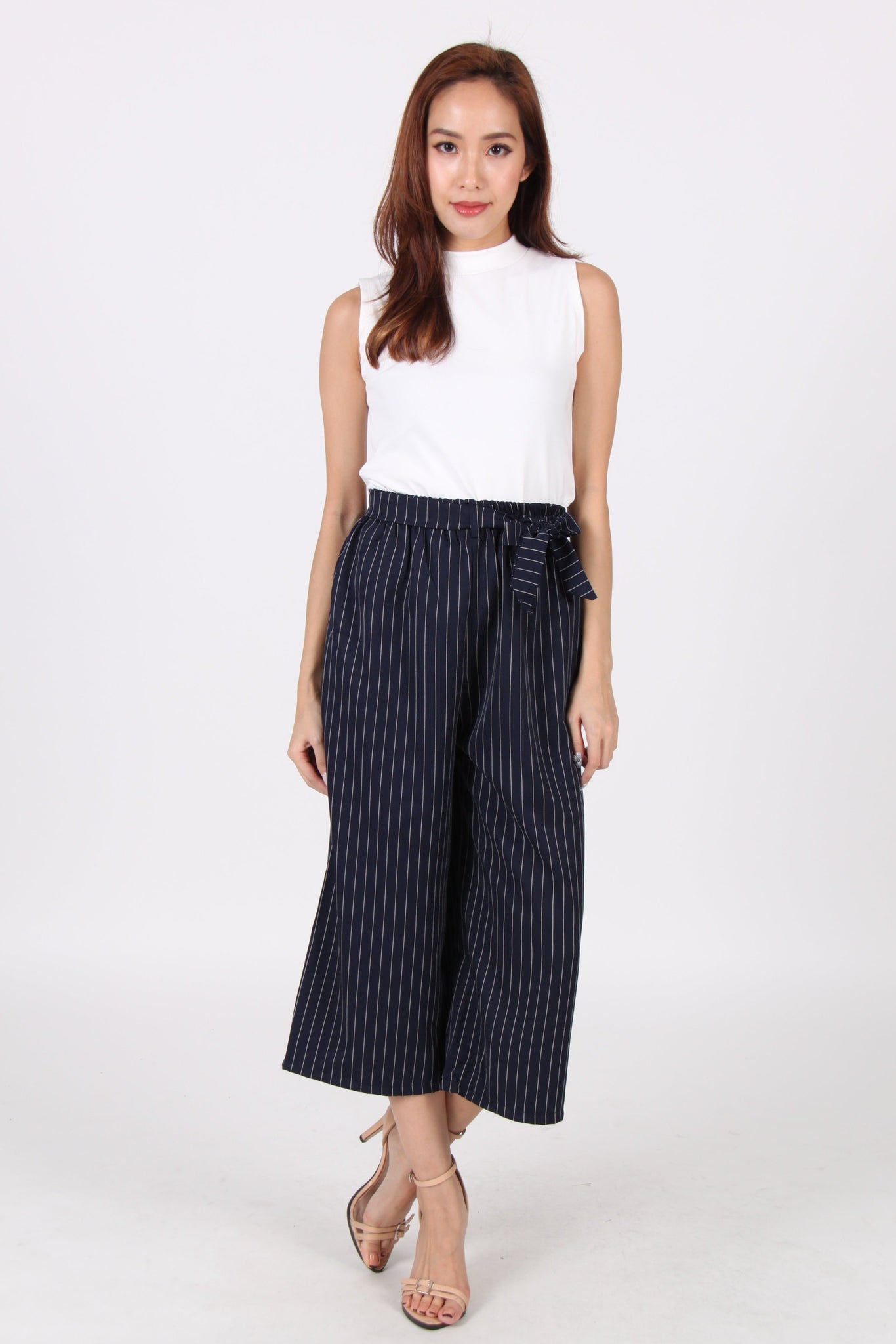 Pinstripes Ribbon Front Tie Culottes In Navy Blue