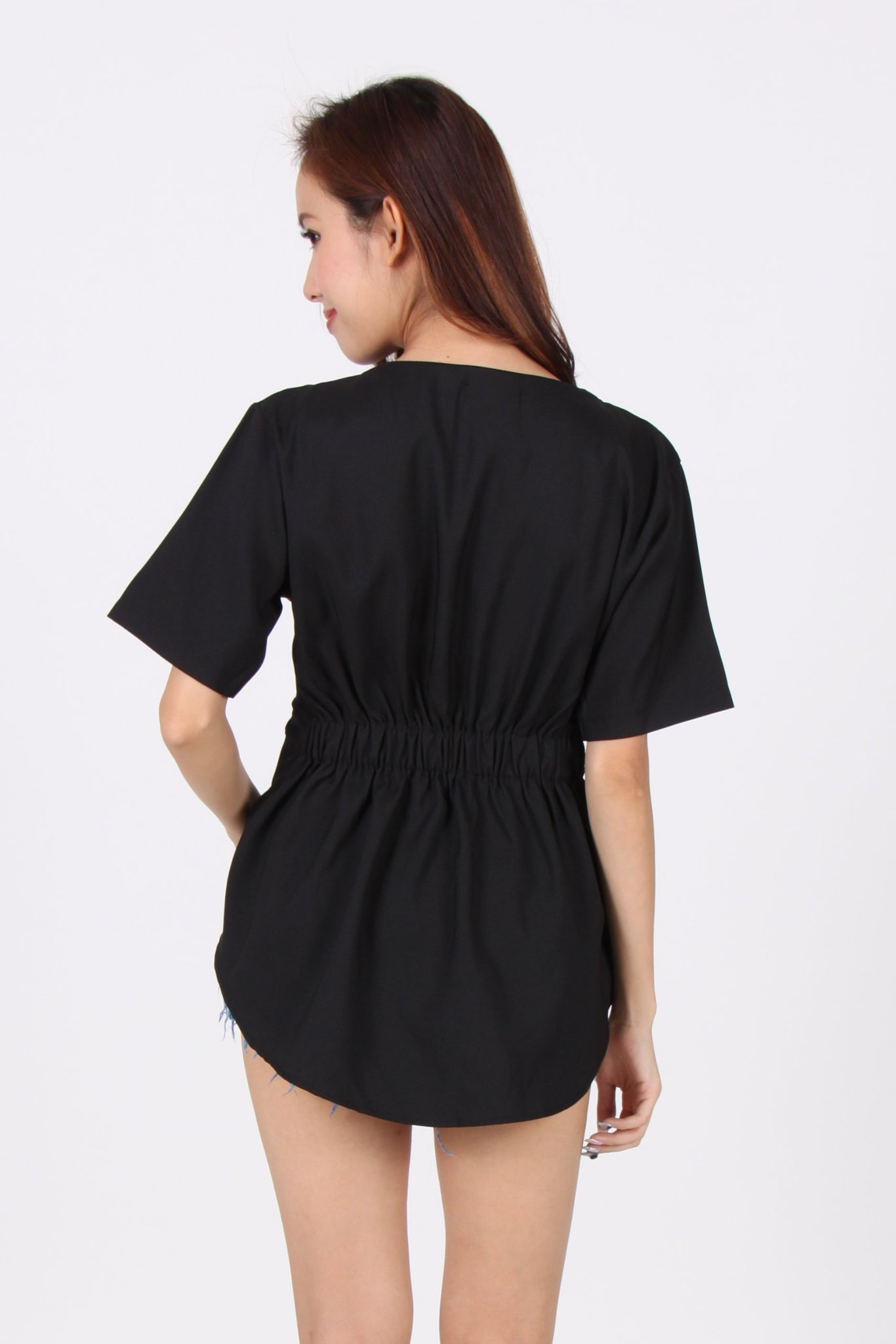 Sleeve Asymmetrical Top In Black