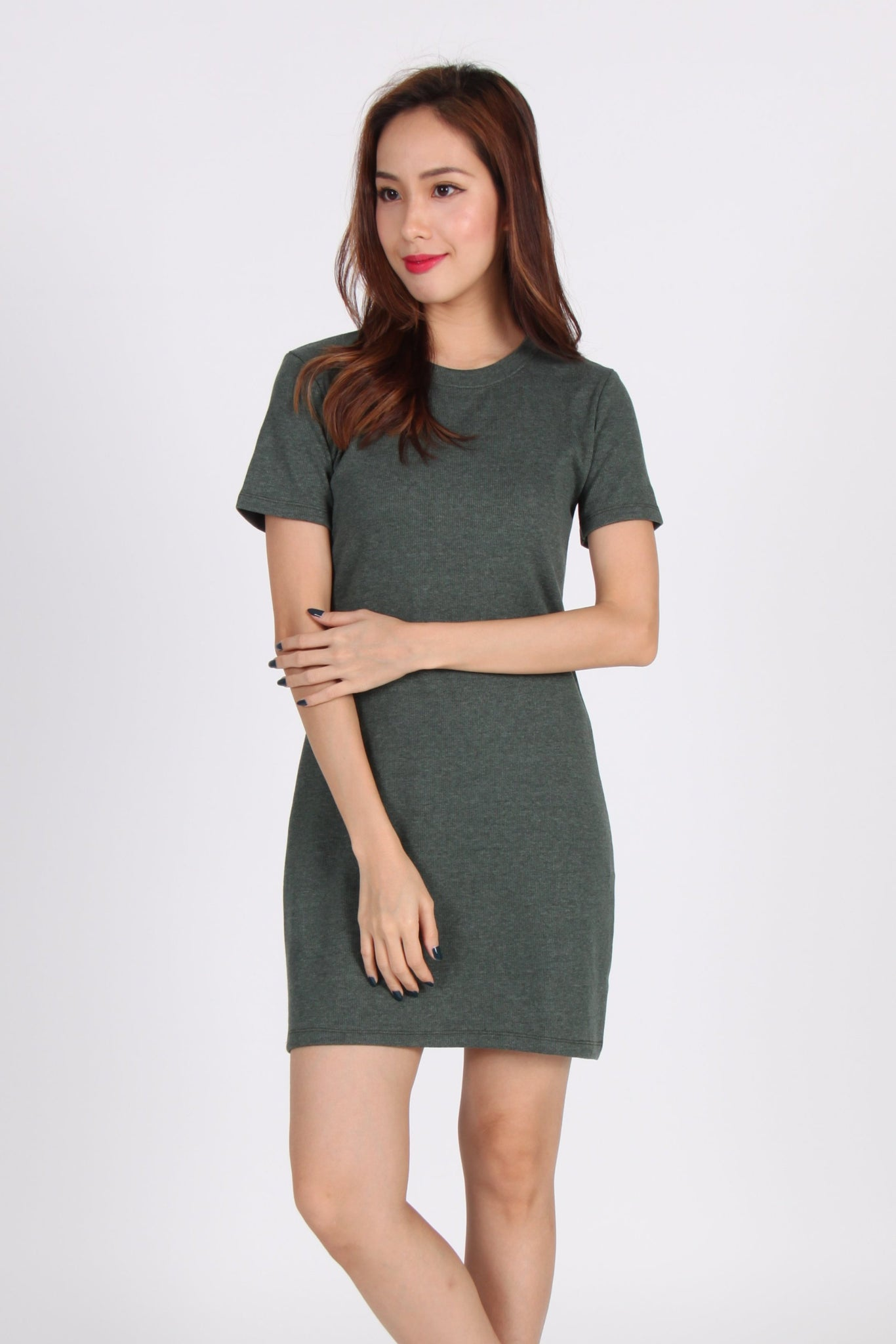 Basic Comfy Tee Dress in Seaweed Green