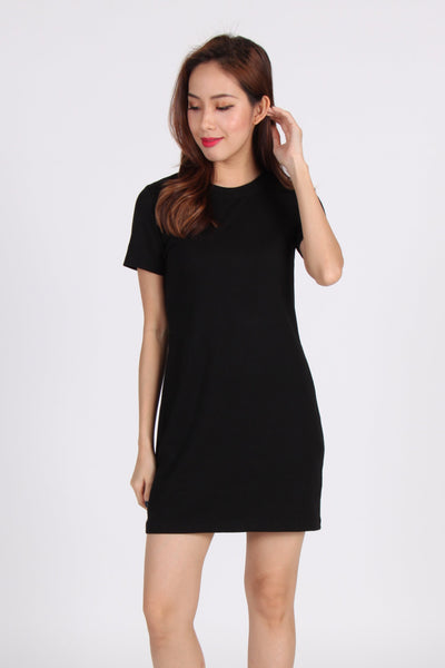 Basic Everyday Comfy Tee Dress in Black
