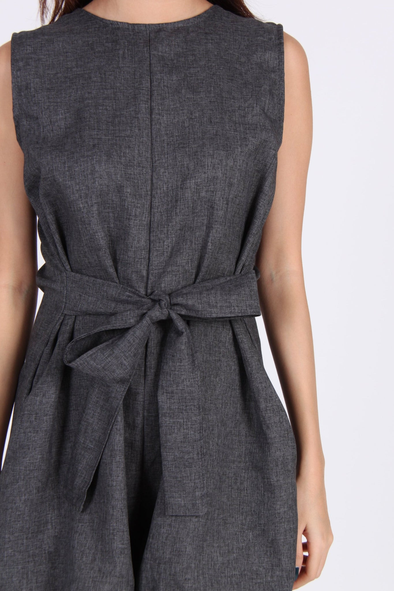 Sleeveless Octopus Romper in Dark Grey