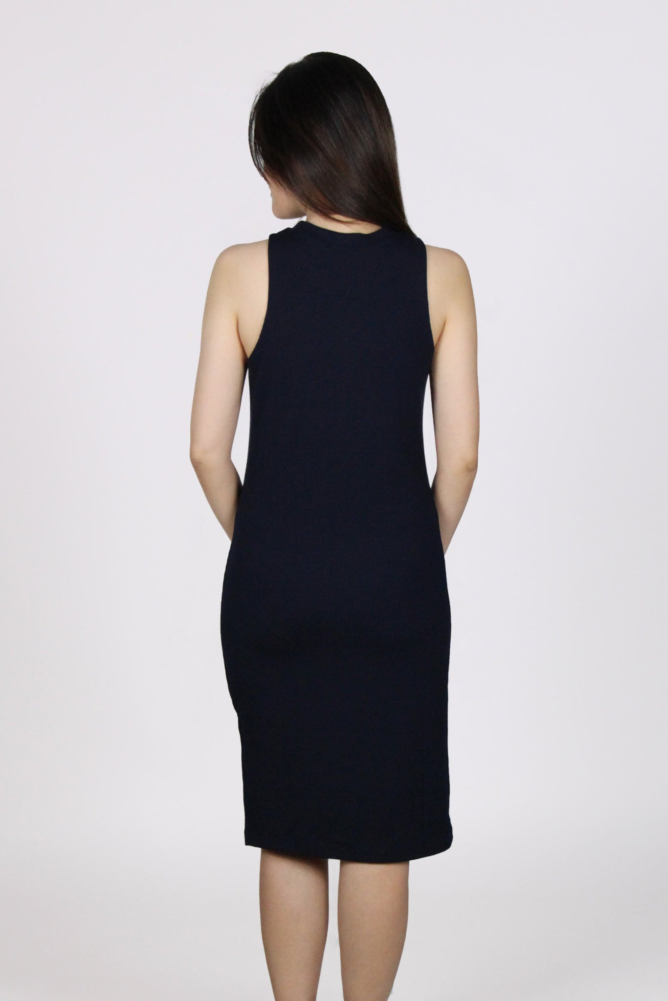 Basic Side Slit Halter Dress in Navy Blue