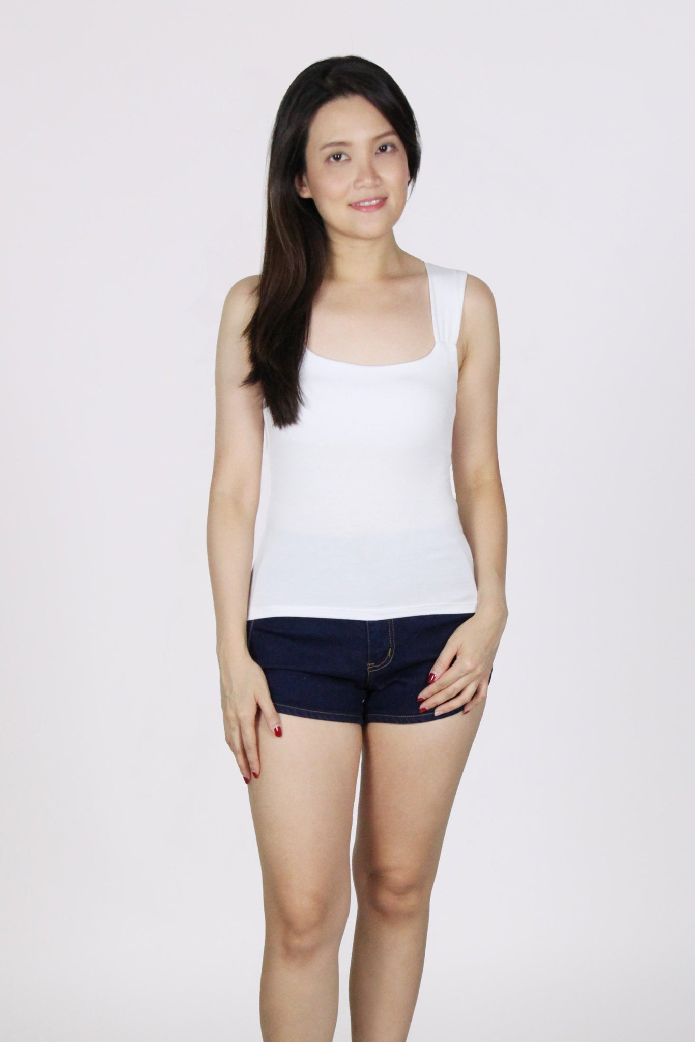 Basic Sleeveless Wide Square Neck Cotton Top in White