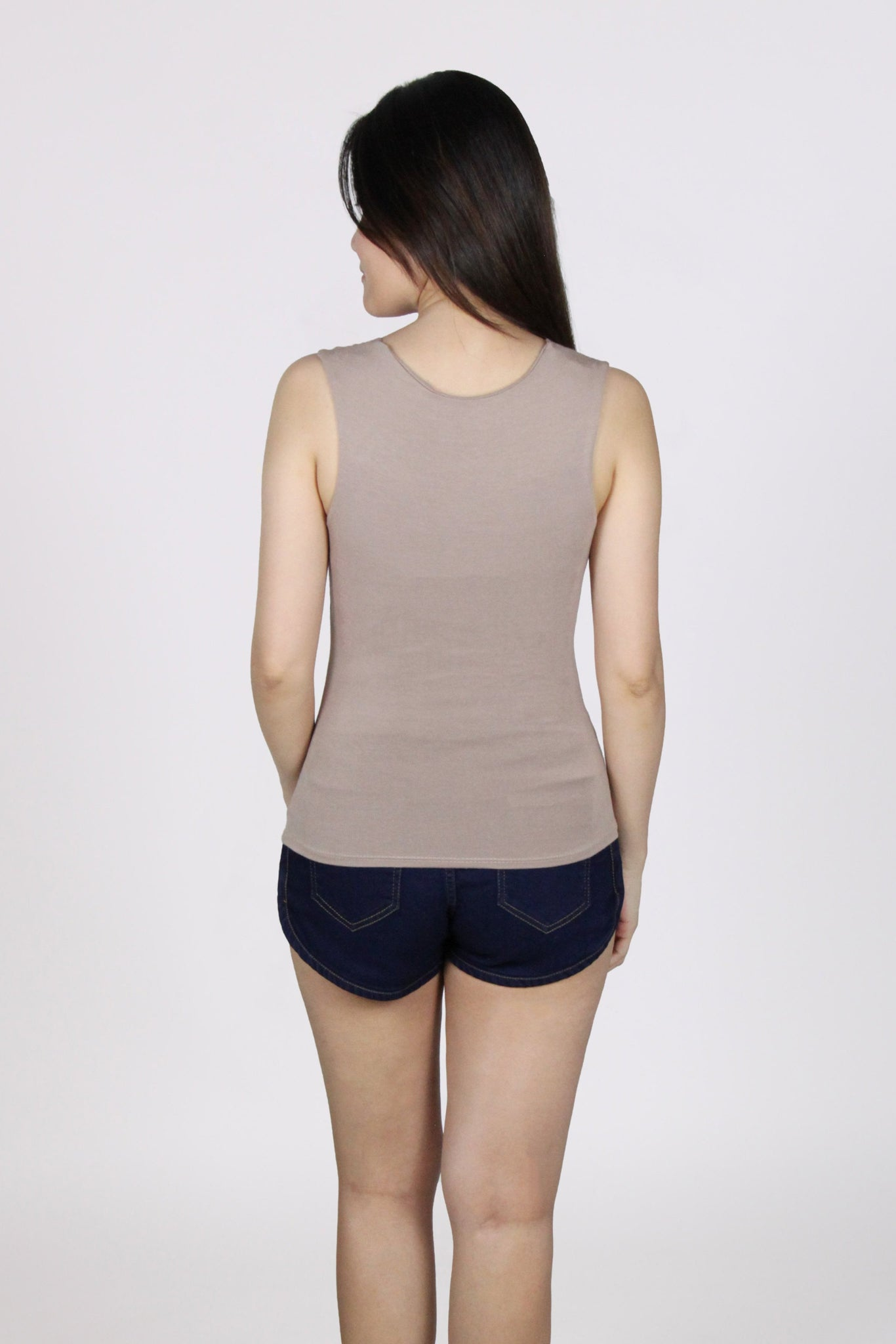 Basic Sleeveless Wide Square Neck Cotton Top in Beige