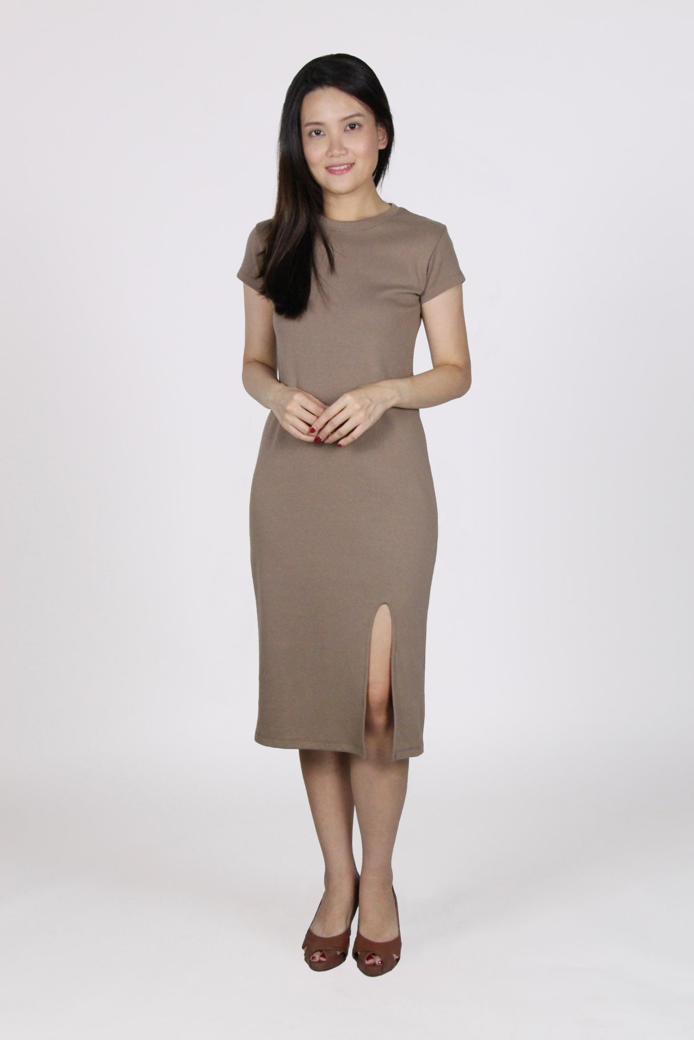 Cap Sleeve Front Slit Midi Tee Dress in Beige