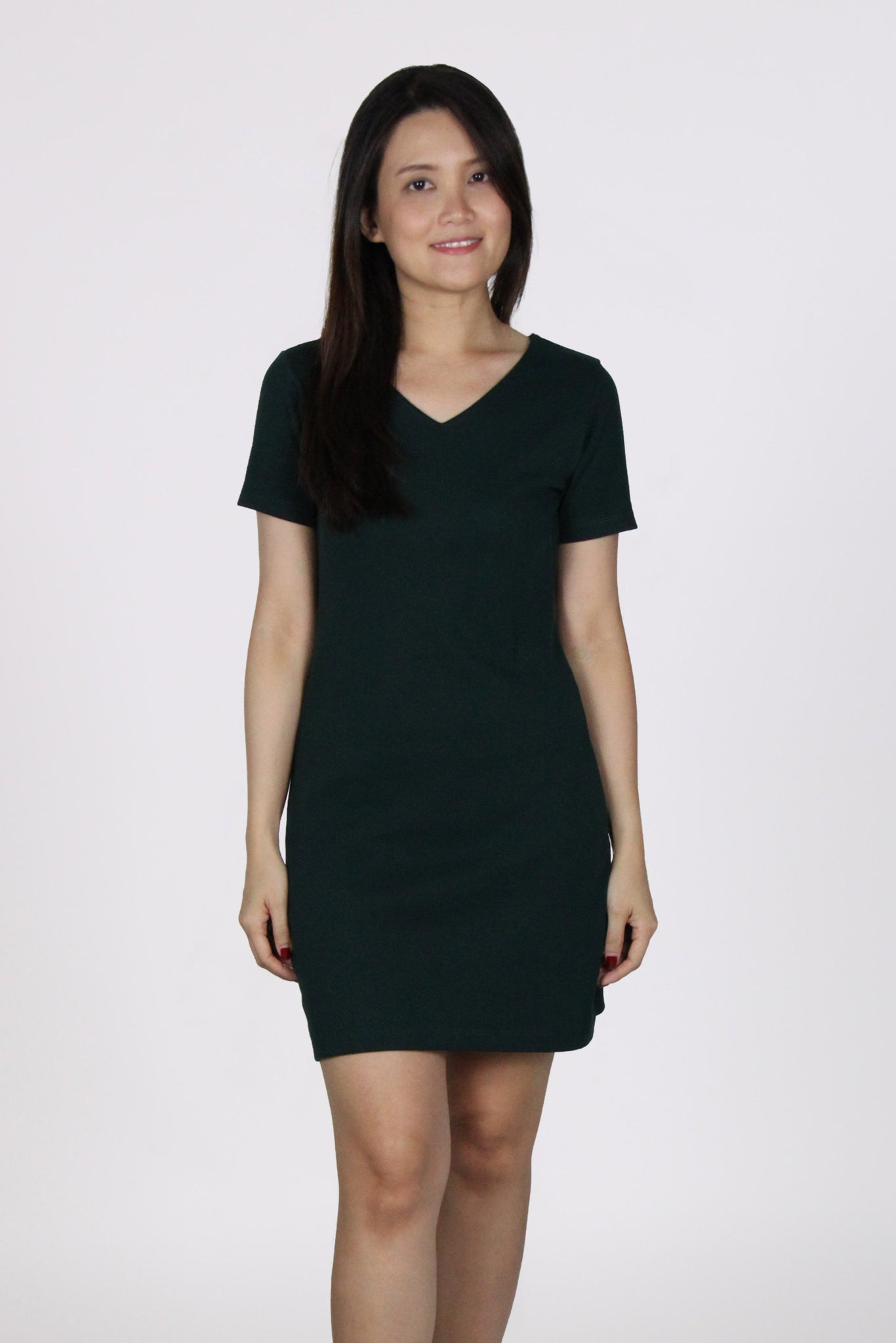 Basic Everyday Comfy V Neck Tee Dress in Dark Green