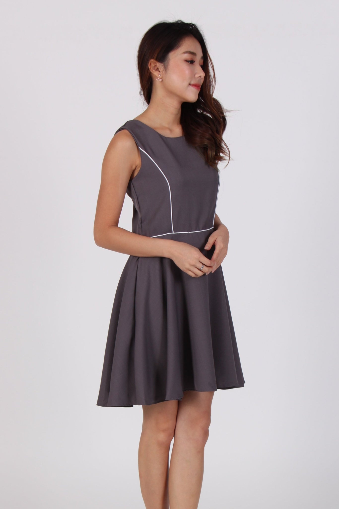 Contrast Line Skater Dress in Grey
