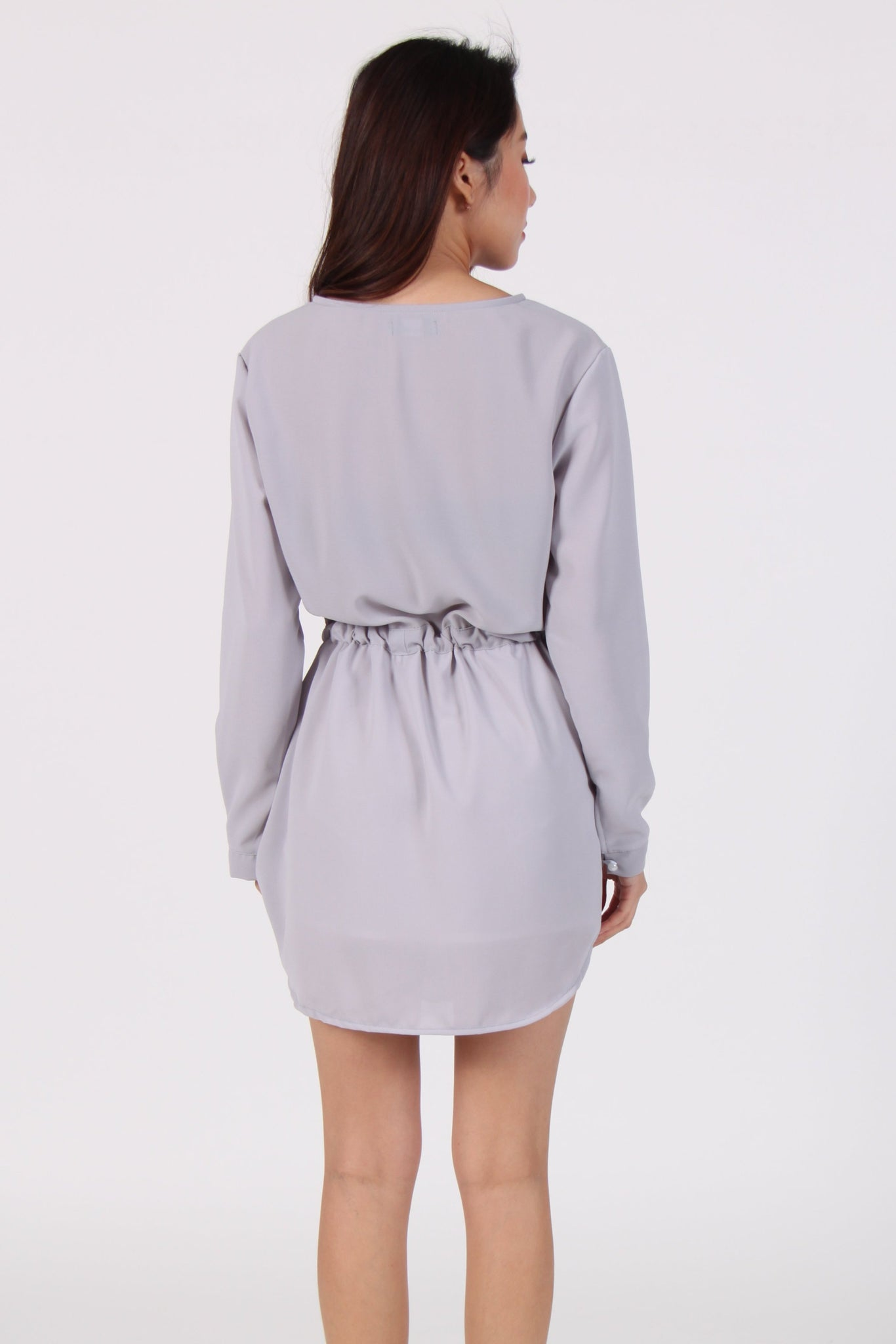 Long Sleeve Chiffon Waist Tie Dress in Light Grey